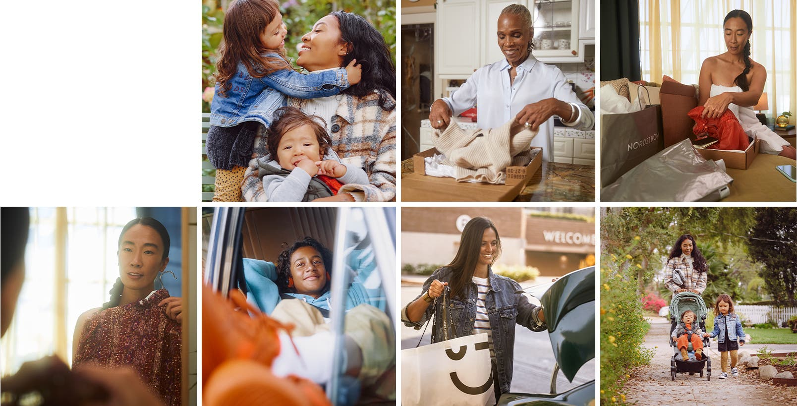 A woman with two children. Women opening Nordstrom packages. A woman in front of a mirror. A person reclining in a car. A woman putting a shopping bag in a car.