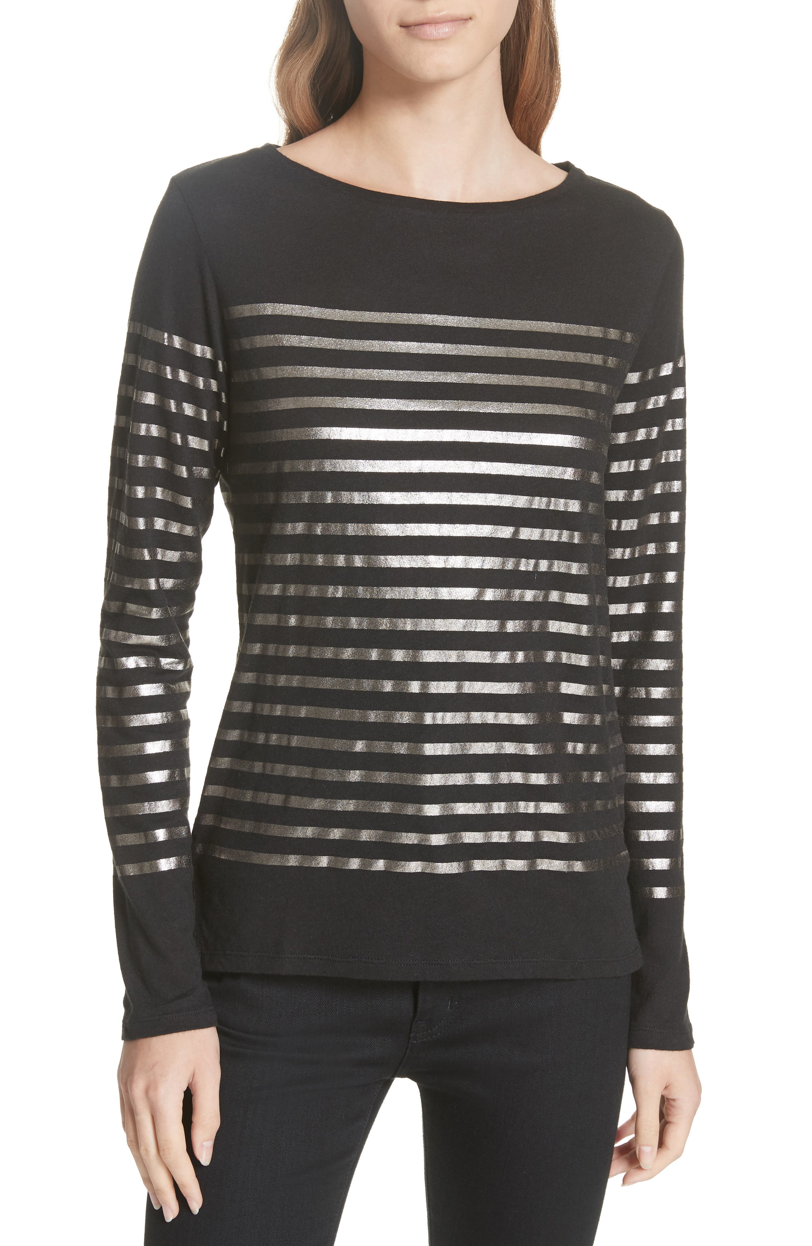 Boxy Stripe Top,                             Main thumbnail 1, color,                             NOIR/ GUN METAL