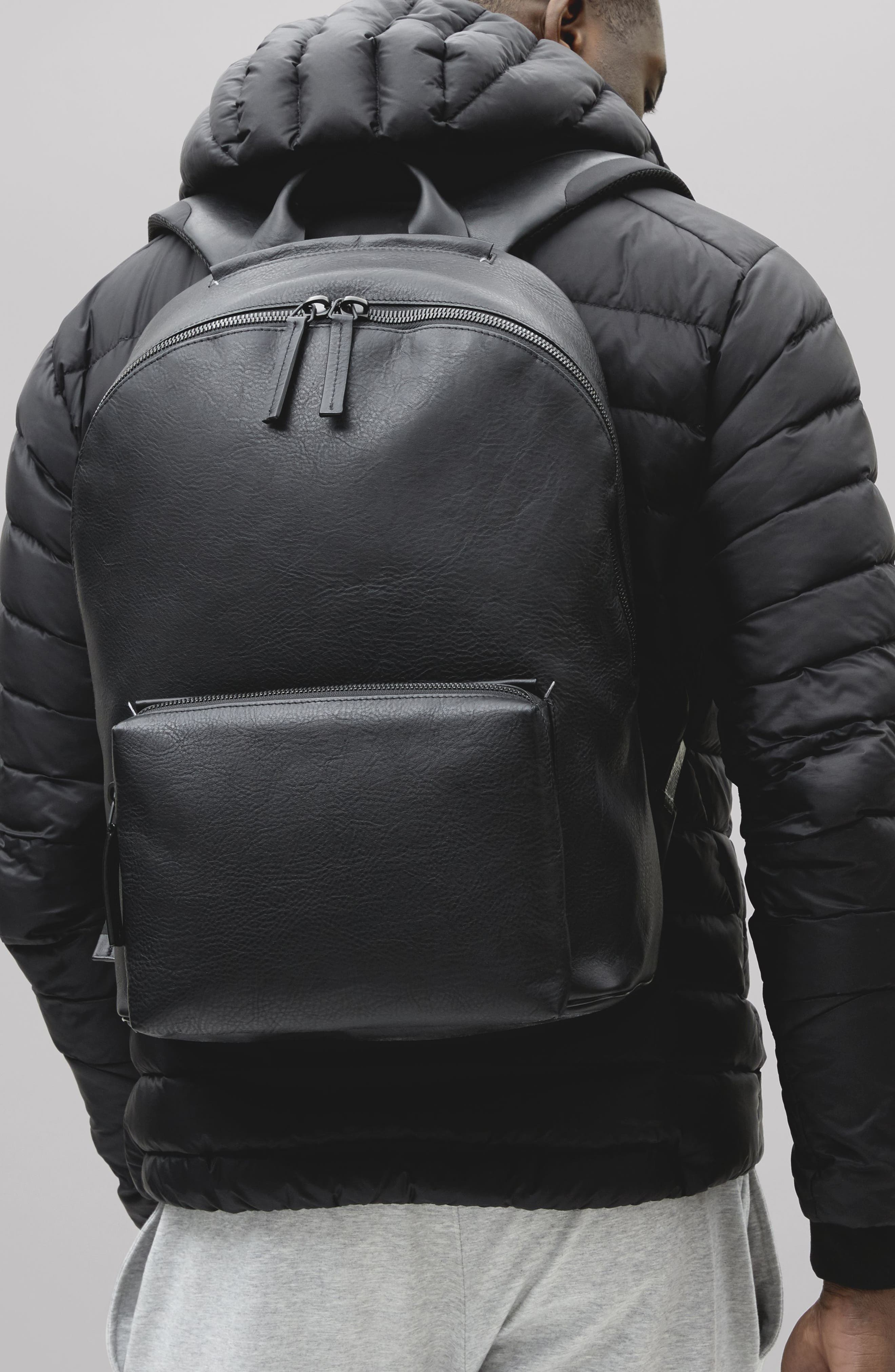Leather Backpack,                             Alternate thumbnail 2, color,                             BLACK LEATHER