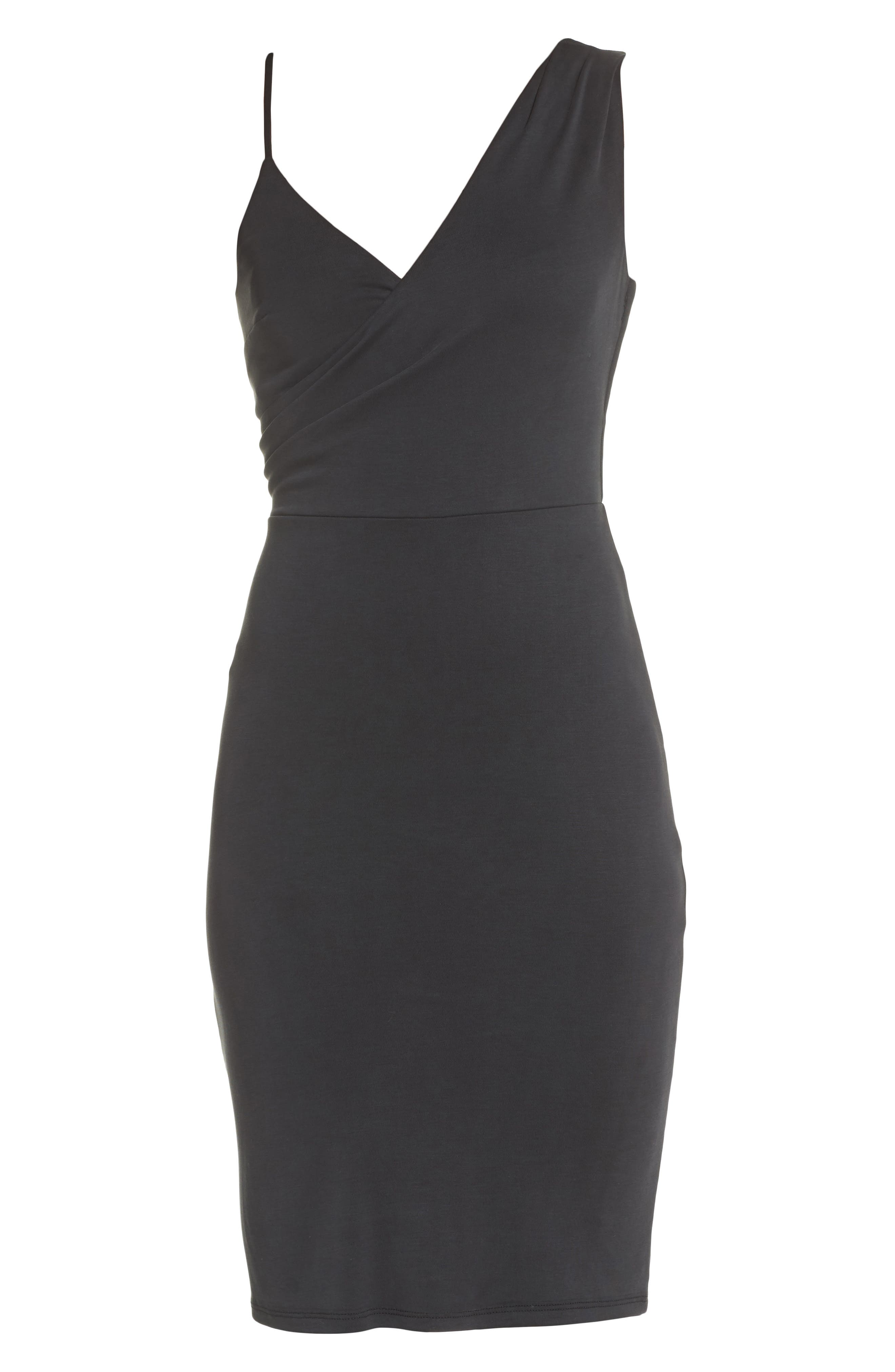 Gracie Cupro Body-Con Dress,                             Alternate thumbnail 6, color,                             001