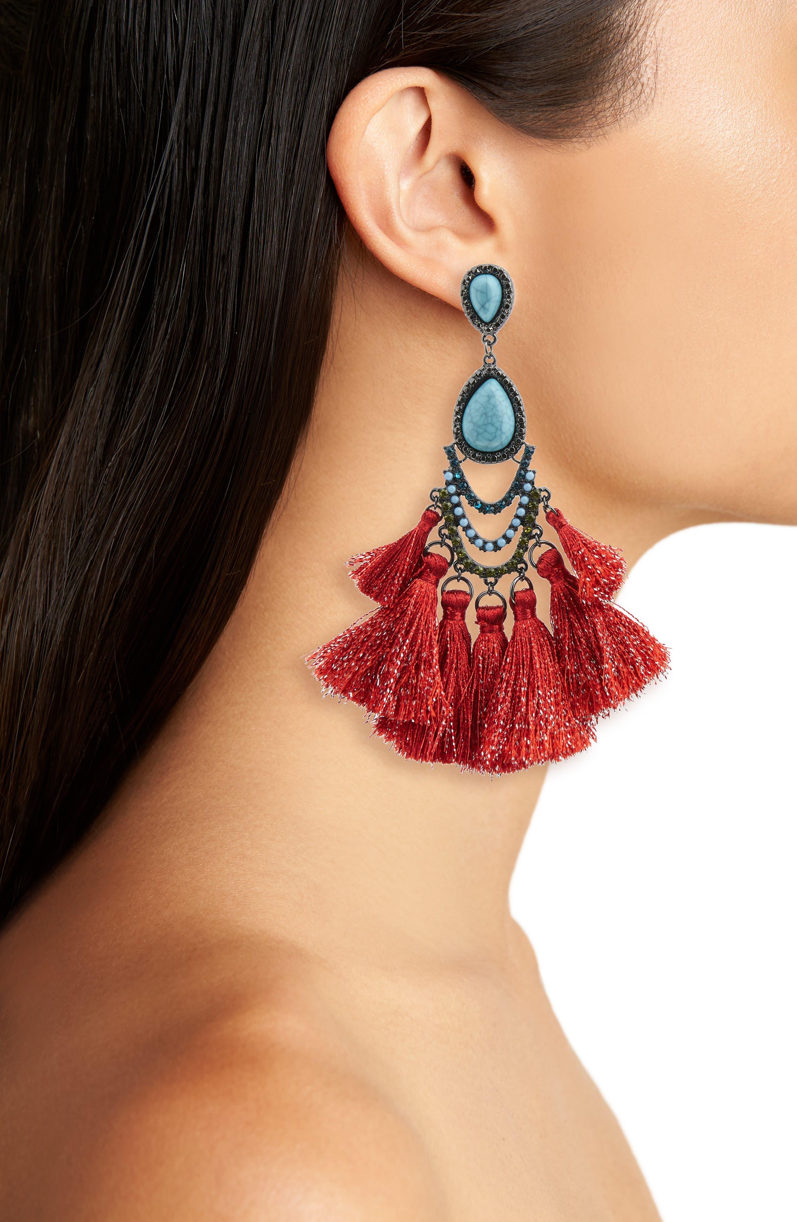 Tassel Drop Earrings,                             Alternate thumbnail 2, color,                             TEAL/ RED/ MULTI