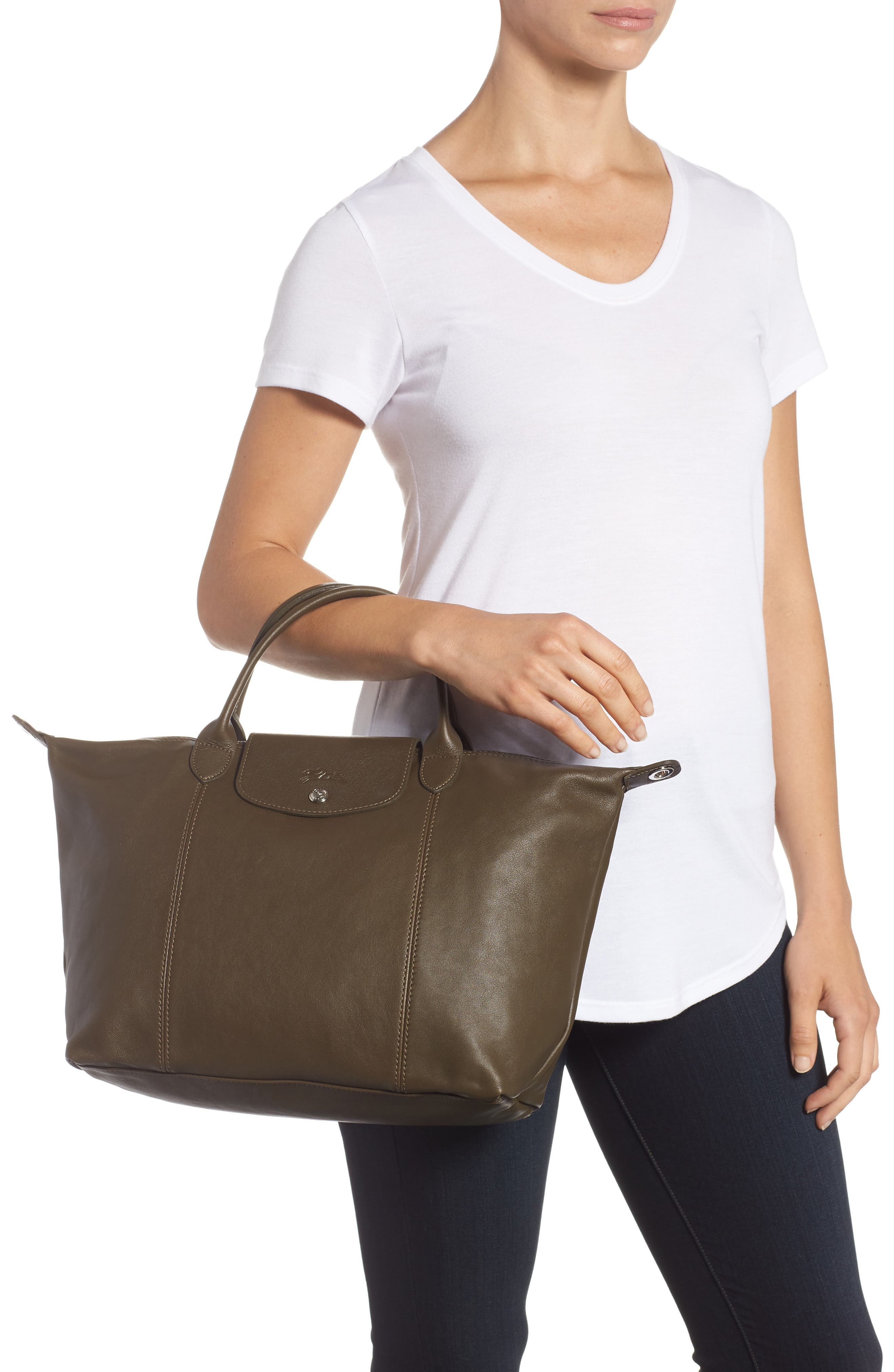Medium 'Le Pliage Cuir' Leather Top Handle Tote,                             Alternate thumbnail 2, color,                             301
