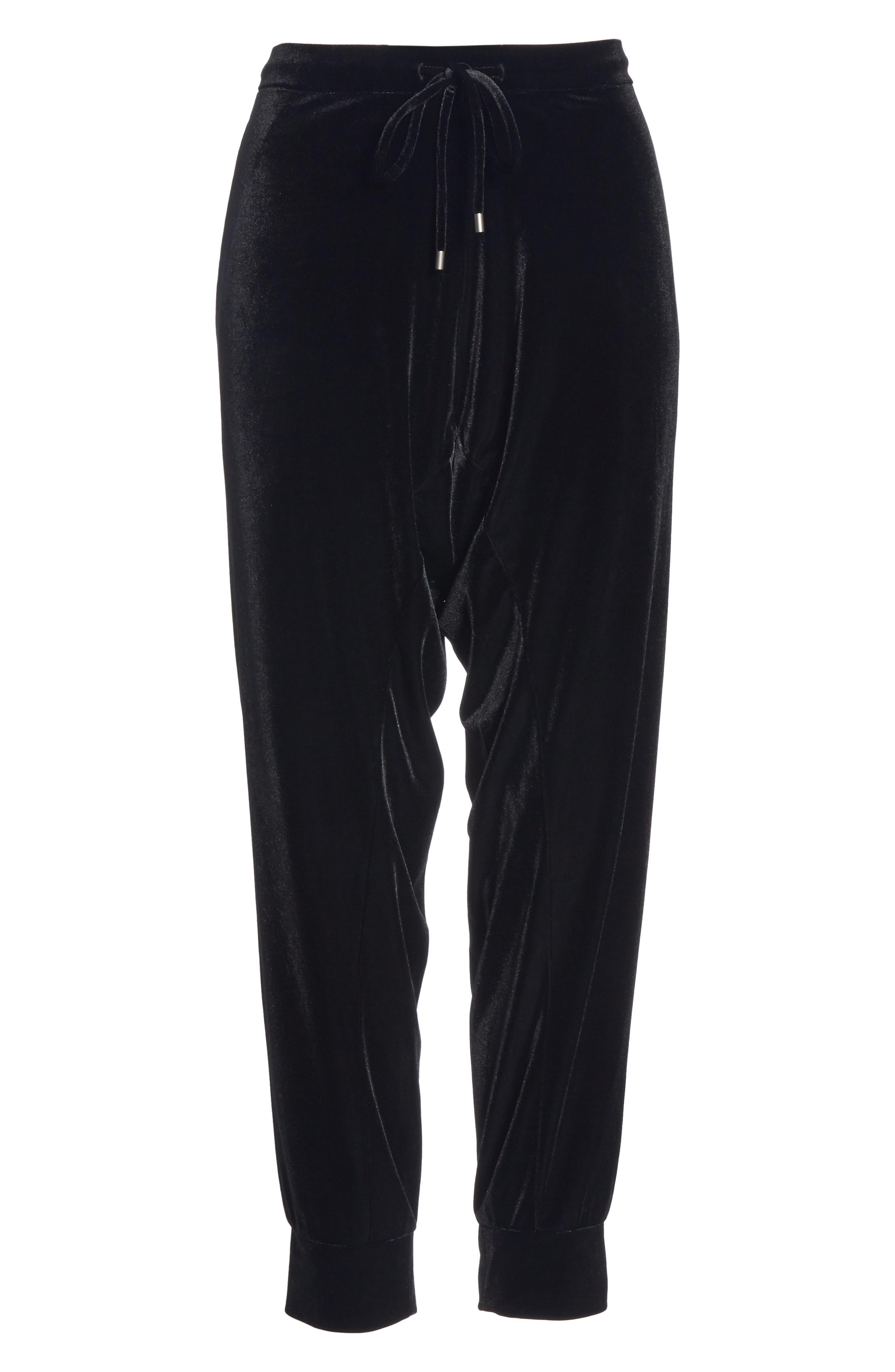 High Rise Crop Velvet Jogger Pants,                             Alternate thumbnail 8, color,                             BLACK