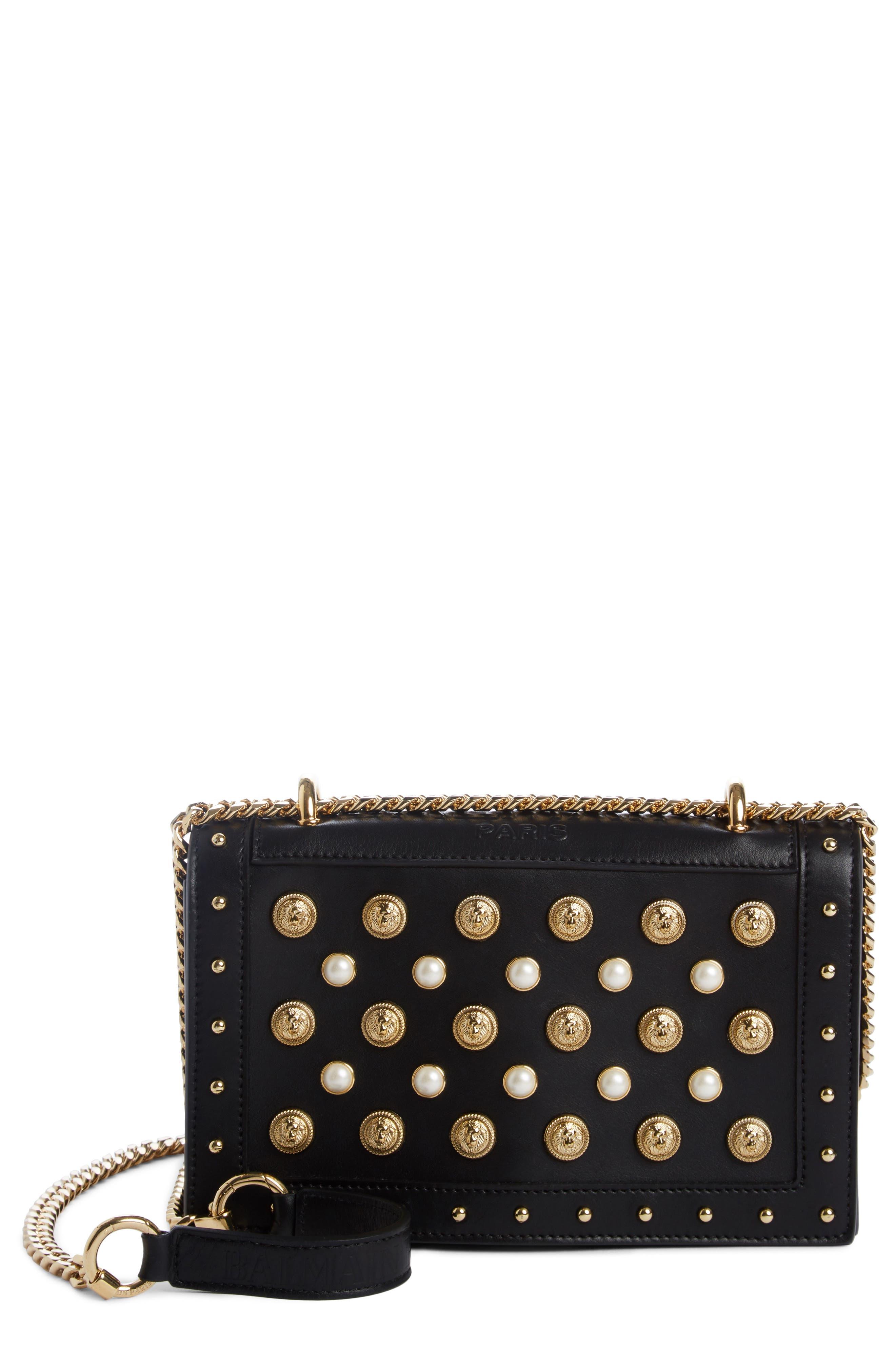 Love Studded Leather Shoulder Bag,                         Main,                         color, NOIR