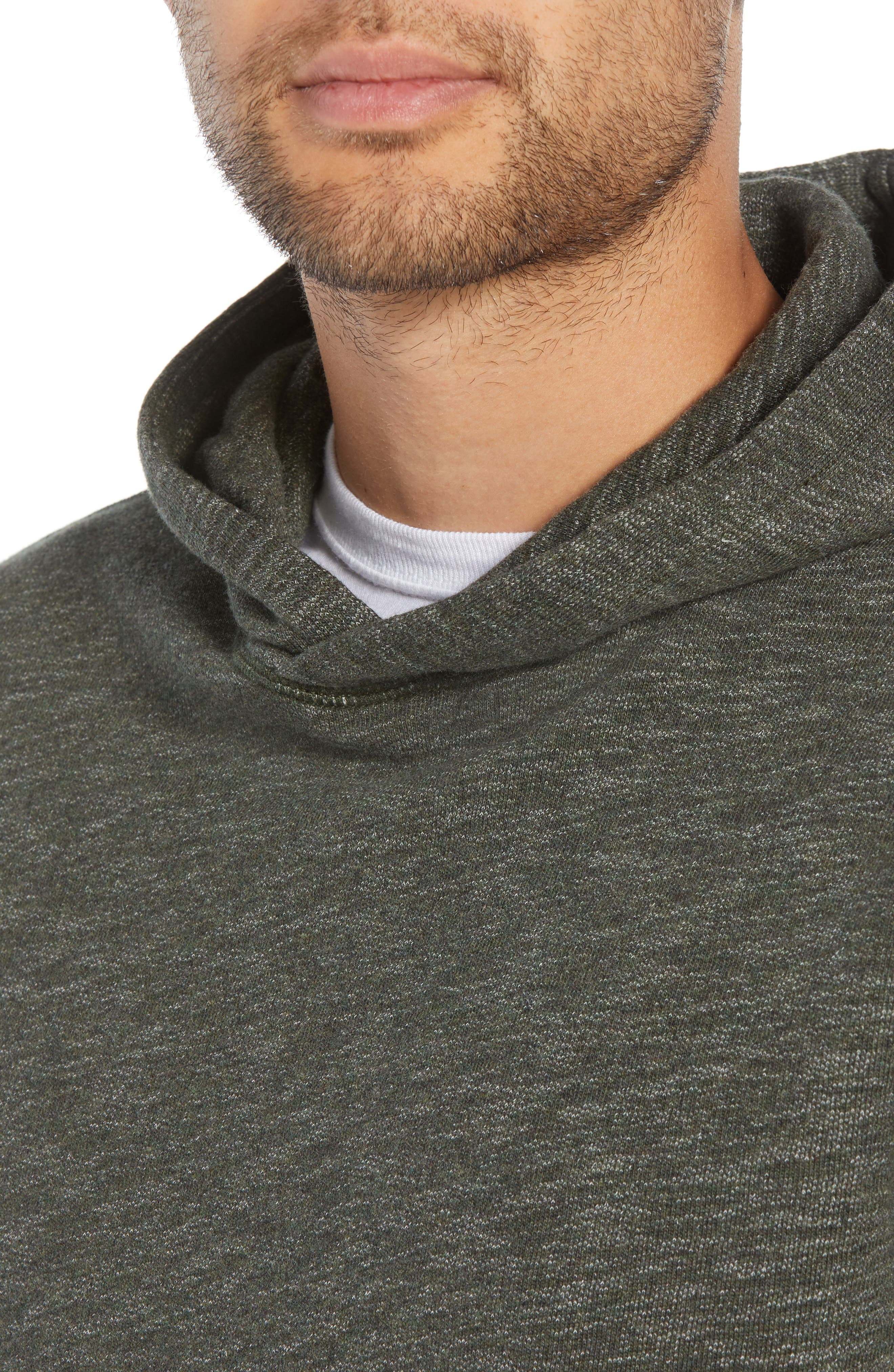 Regular Fit French Terry Pullover Hoodie,                             Alternate thumbnail 4, color,                             OLIVE DARK HEATHER
