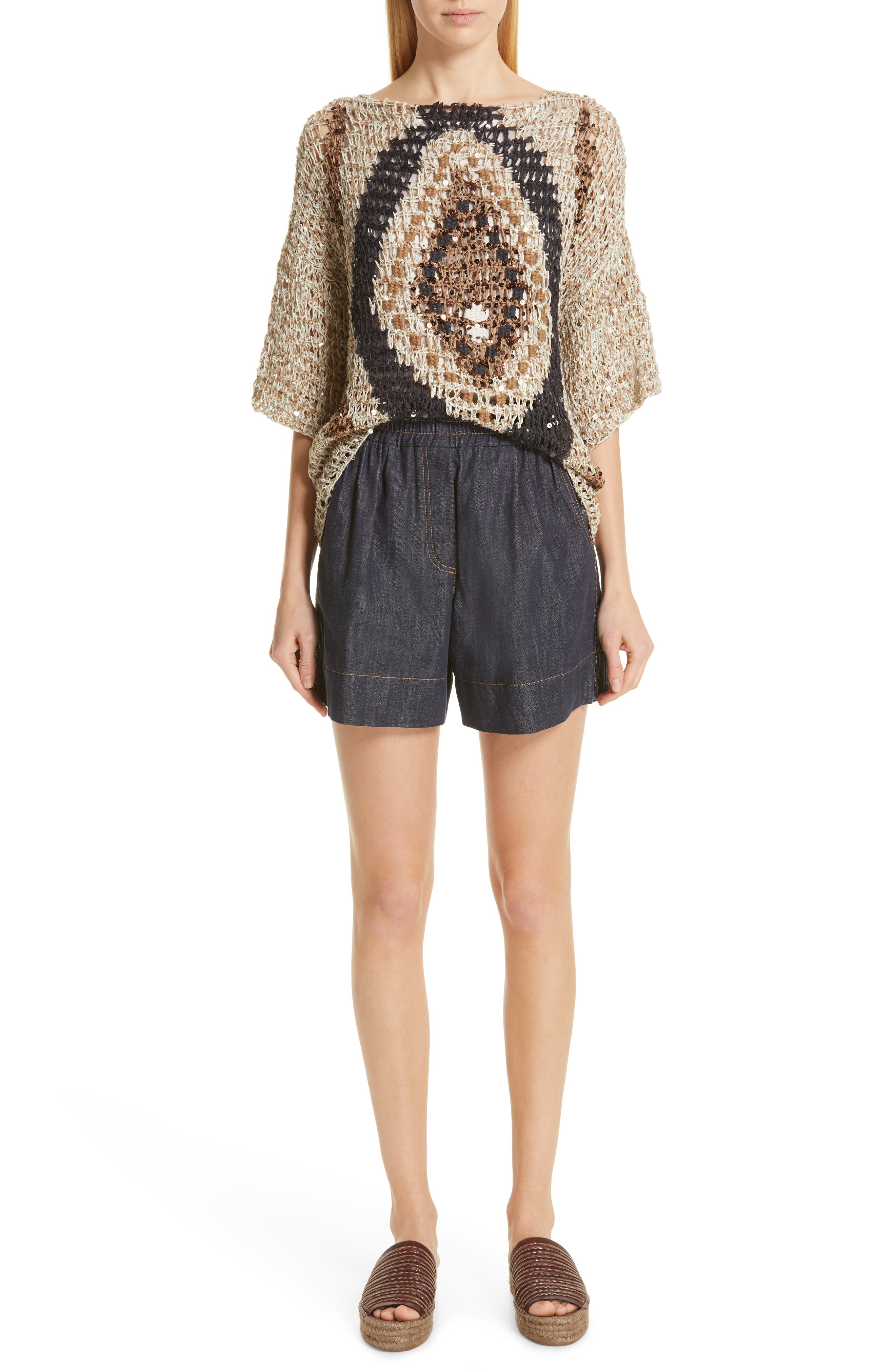 Sequin Open Knit Sweater,                             Alternate thumbnail 7, color,                             SUMMER BEIGE
