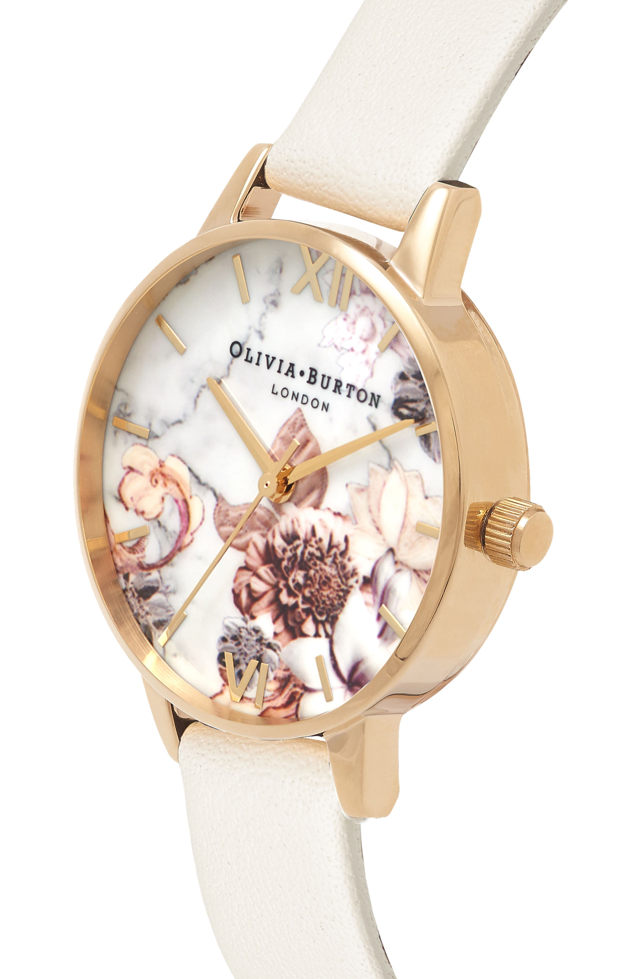 Marble Floral Leather Strap Watch, 30mm,                             Alternate thumbnail 3, color,                             NUDE/ WHITE FLORAL/ GOLD