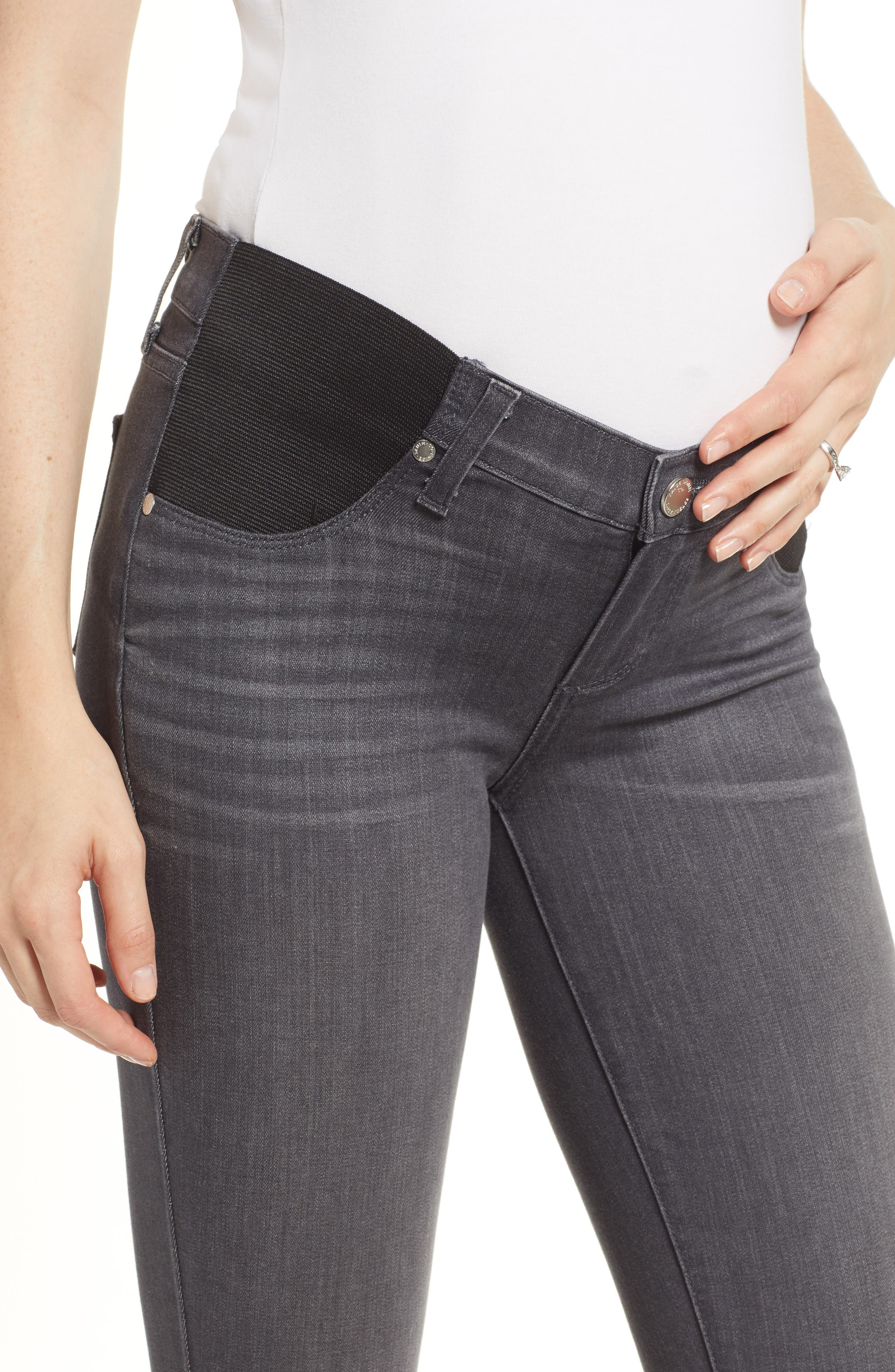 Transcend - Verdugo Maternity Skinny Jeans,                             Alternate thumbnail 4, color,                             GREY PEAKS