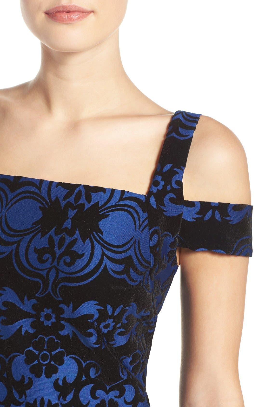 Flocked Midi Dress,                             Alternate thumbnail 7, color,