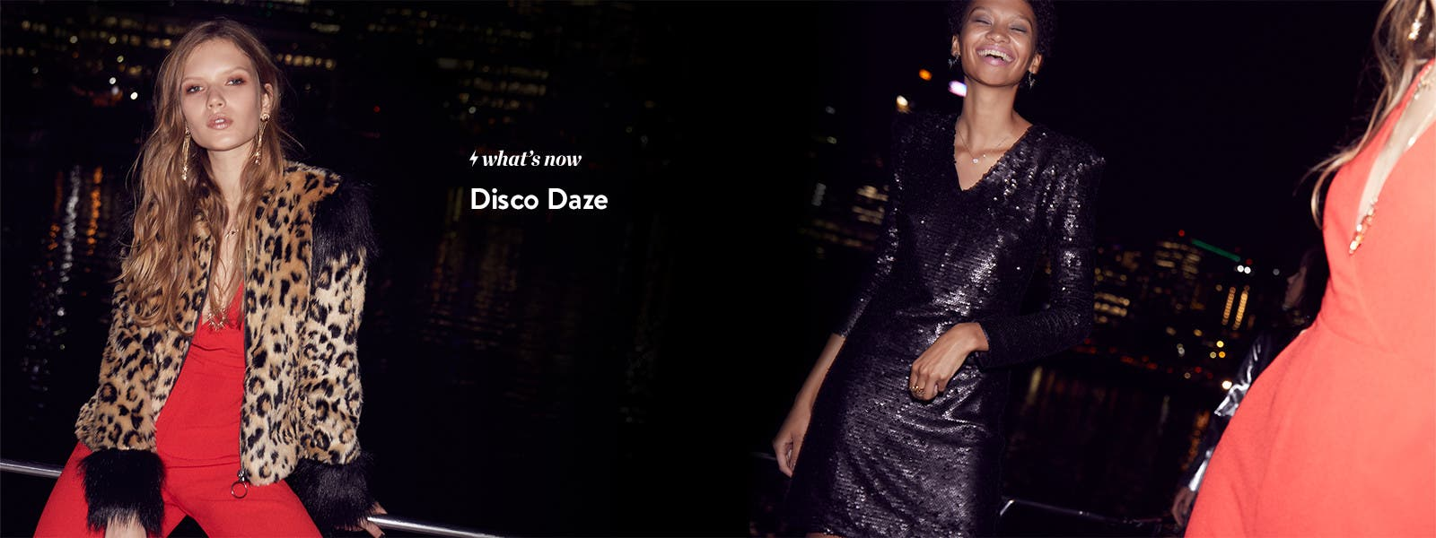 Disco daze trend: shine, animal prints, statement pieces.