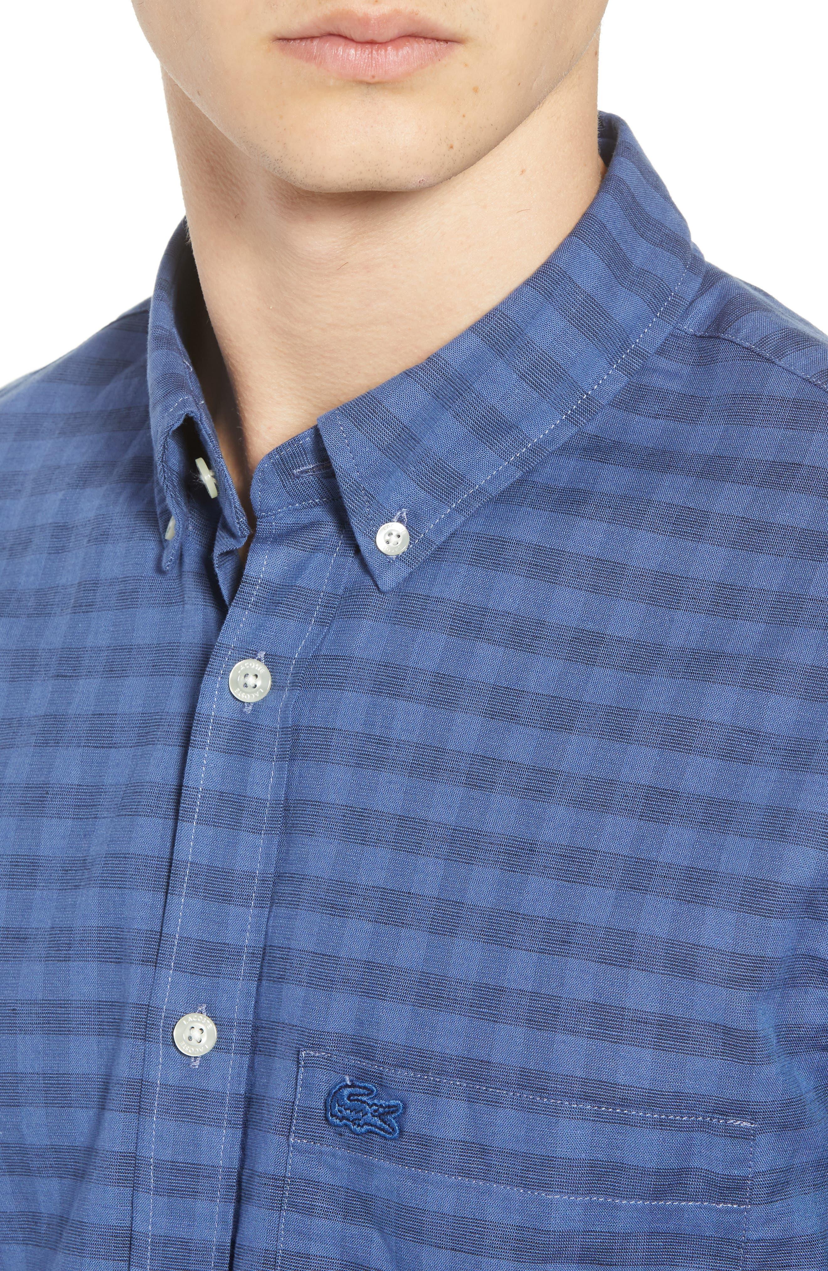 Slim Fit Check Cotton & Linen Sport Shirt,                             Alternate thumbnail 4, color,                             400