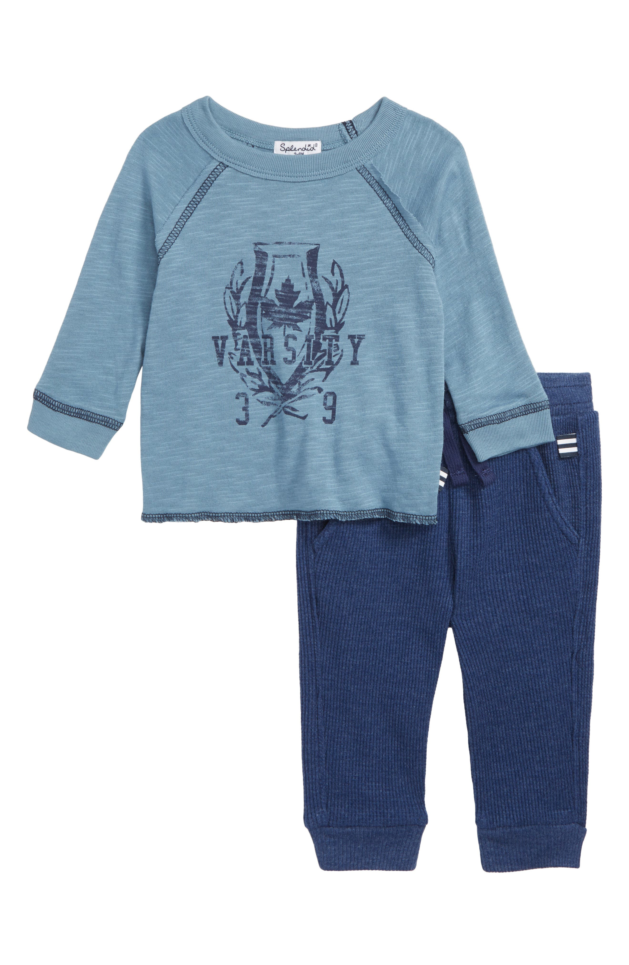 Raglan T-Shirt & Thermal Pants Set,                             Main thumbnail 1, color,                             PROVENCE BLUE