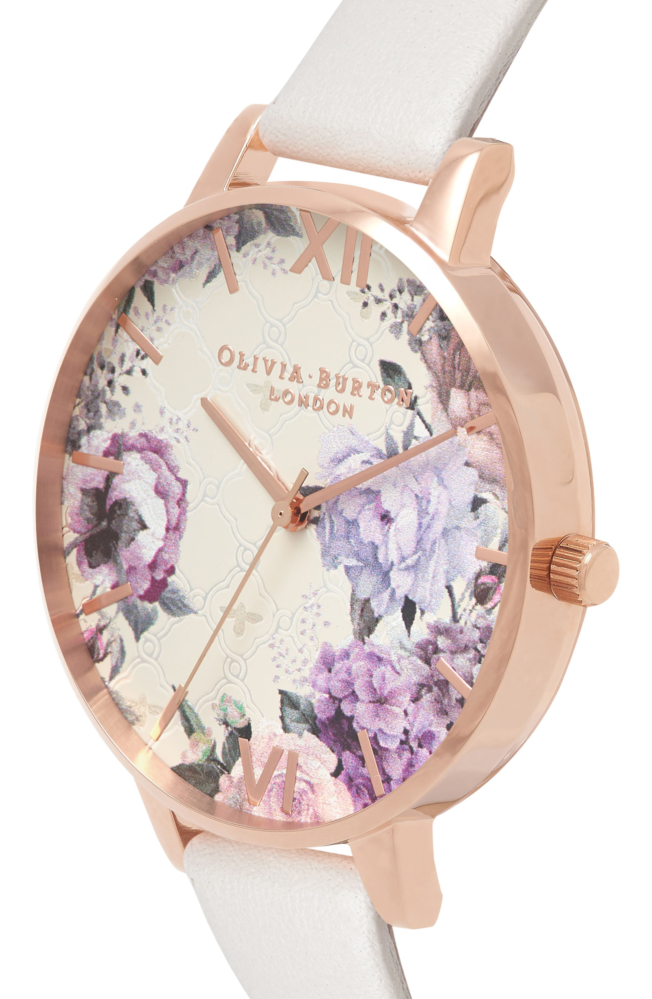 Glasshouse Leather Strap Watch, 38mm,                             Alternate thumbnail 3, color,                             BLUSH/ FLORAL/ ROSE GOLD