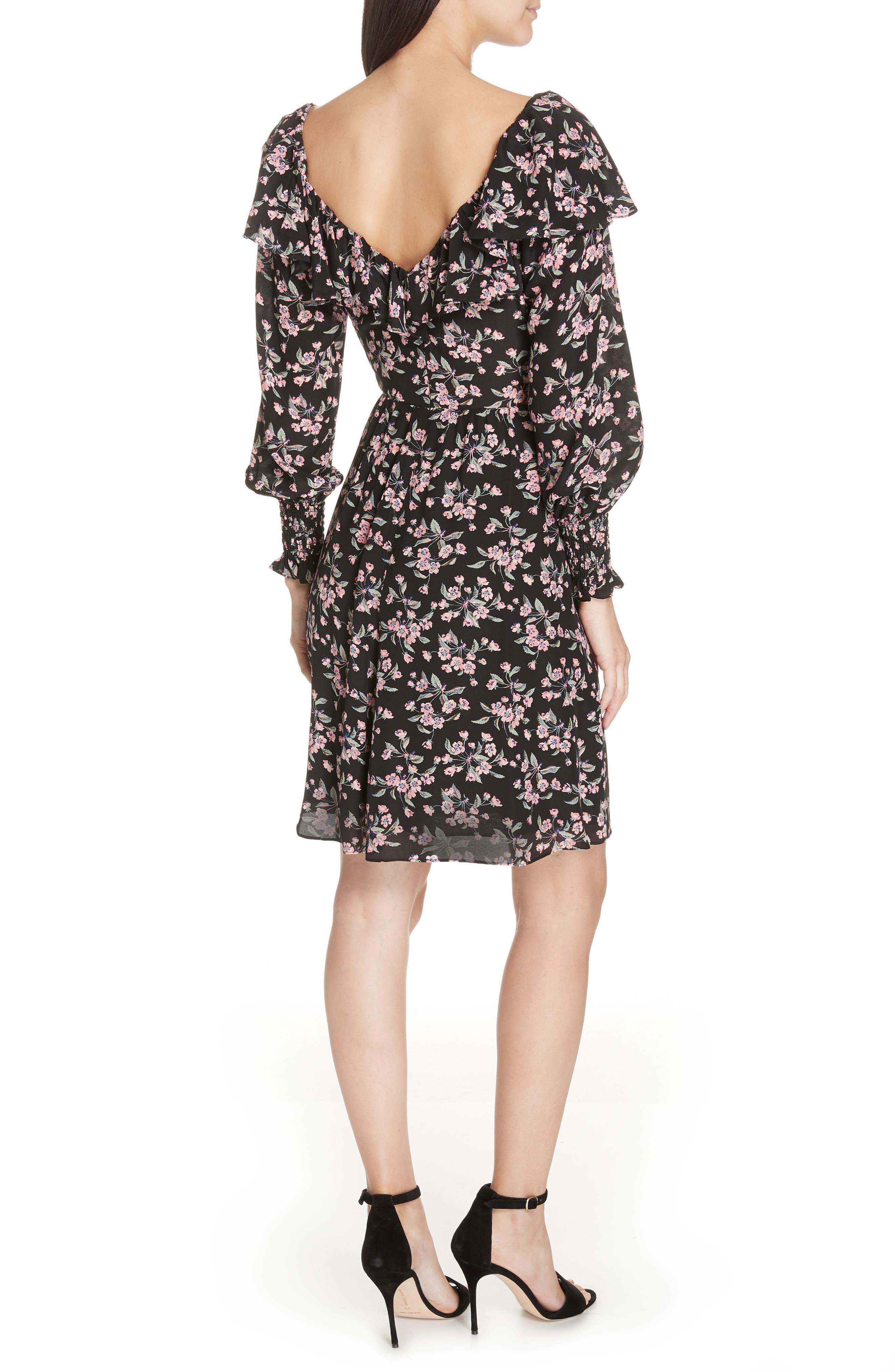 REBECCA TAYLOR,                             Tilda Silk Ruffle Dress,                             Alternate thumbnail 2, color,                             014
