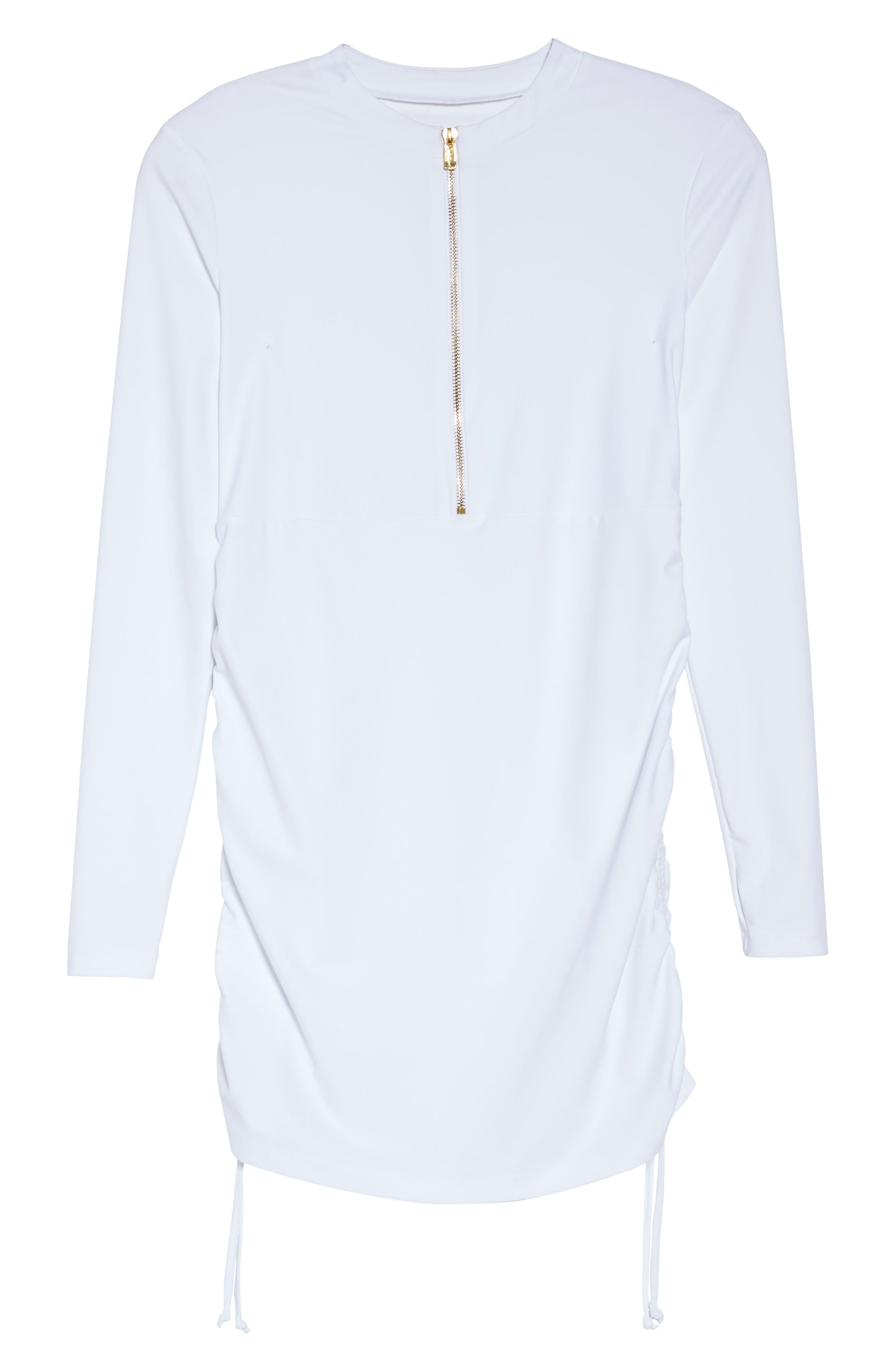 Sonja UPF 50 Cover-Up Swim Dress,                             Alternate thumbnail 6, color,                             WHITE