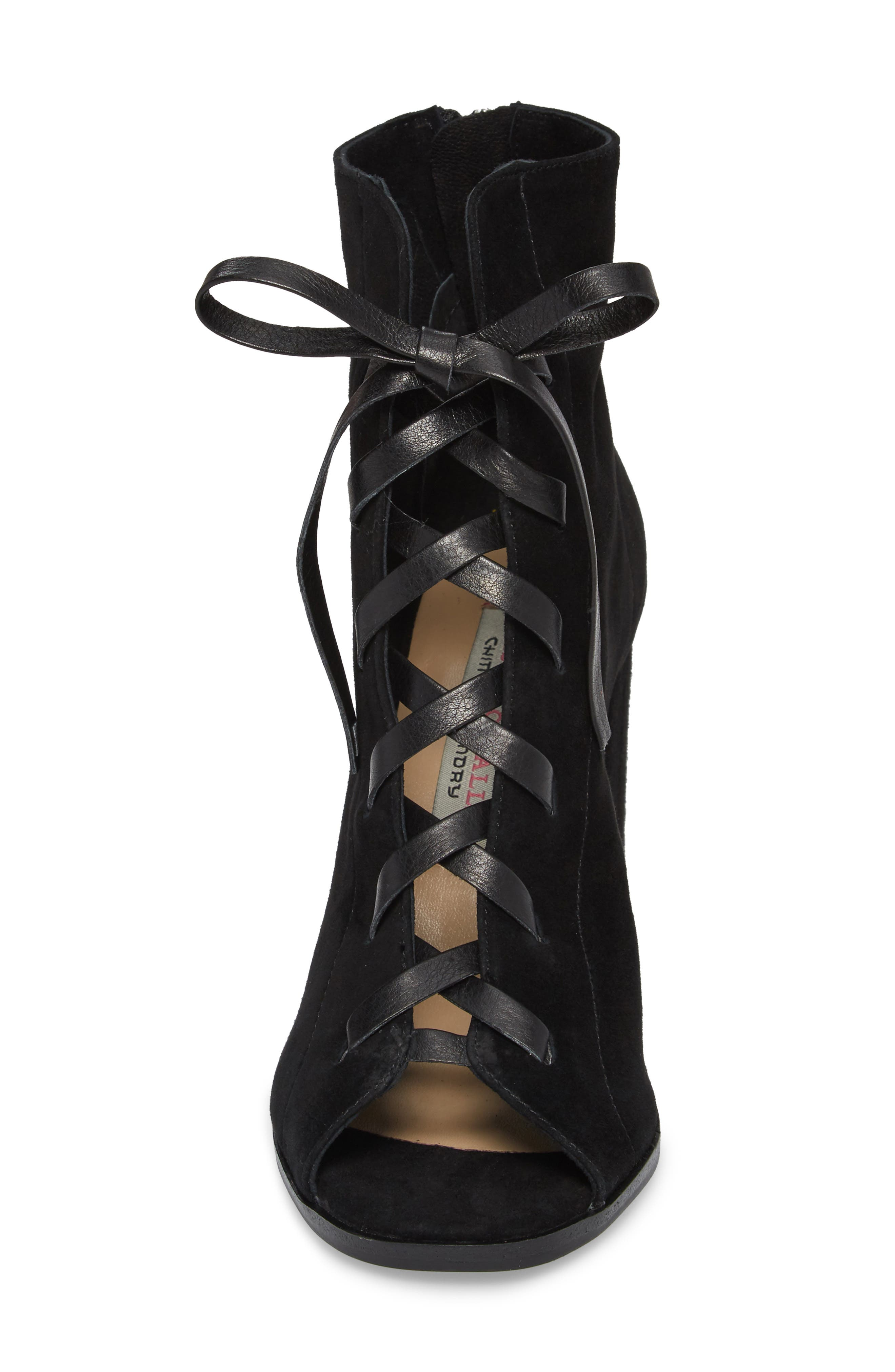 Layton Lace-Up Boot,                             Alternate thumbnail 4, color,                             BLACK SUEDE