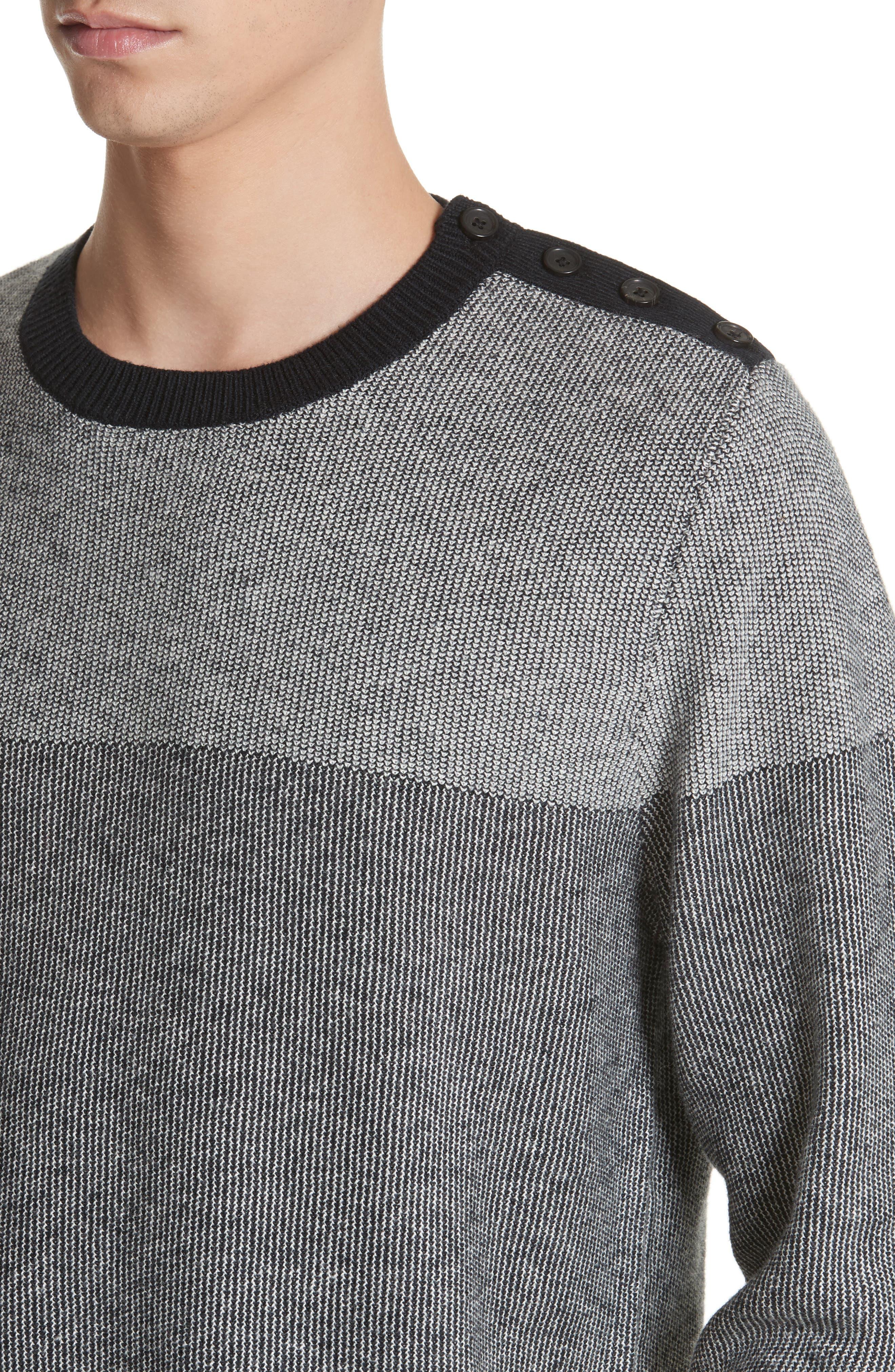 Colorblock Crewneck Sweater,                             Alternate thumbnail 4, color,                             001