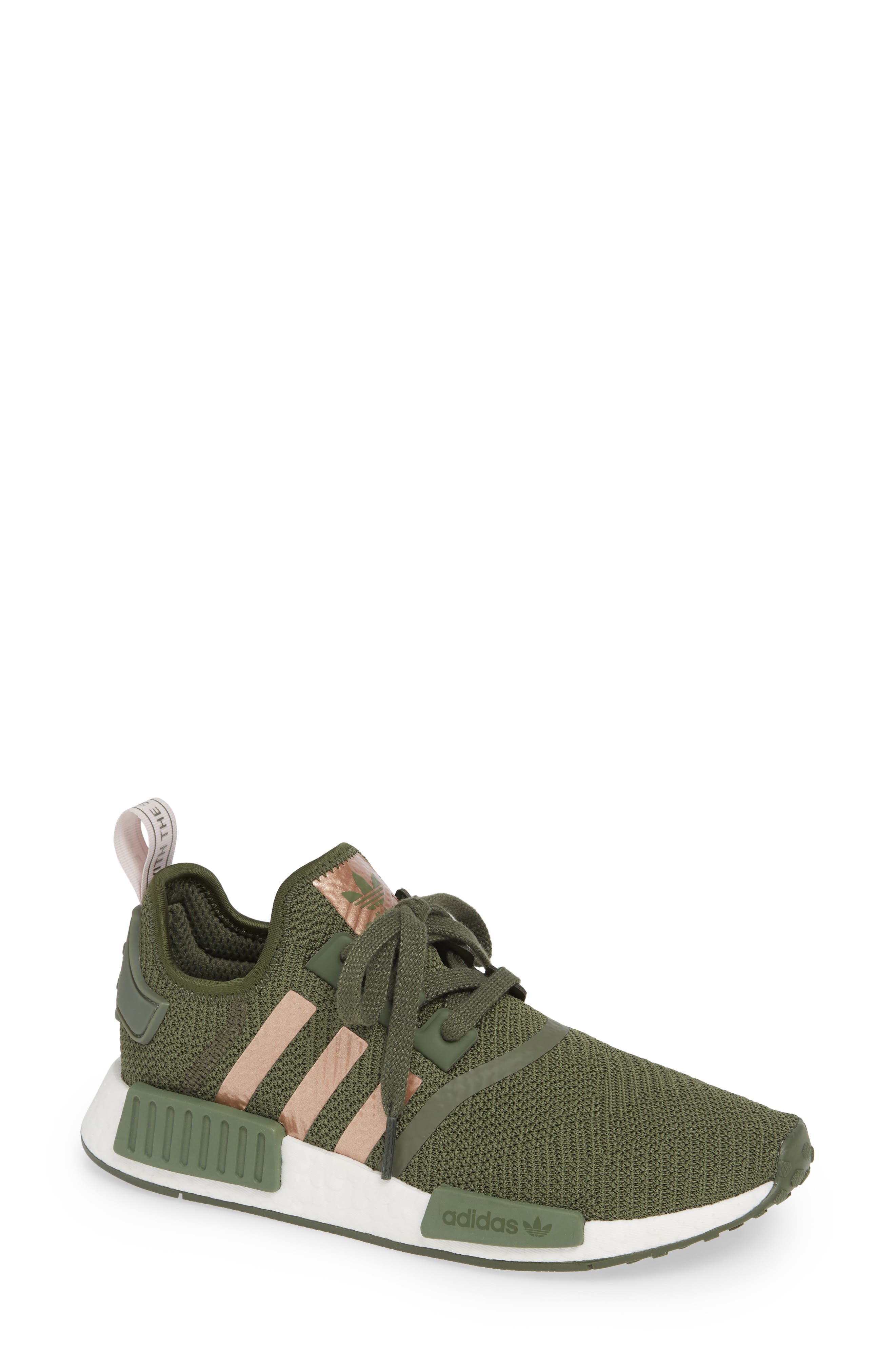 NMD R1 Athletic Shoe,                             Main thumbnail 1, color,                             BASE GREEN/ SUPER POP