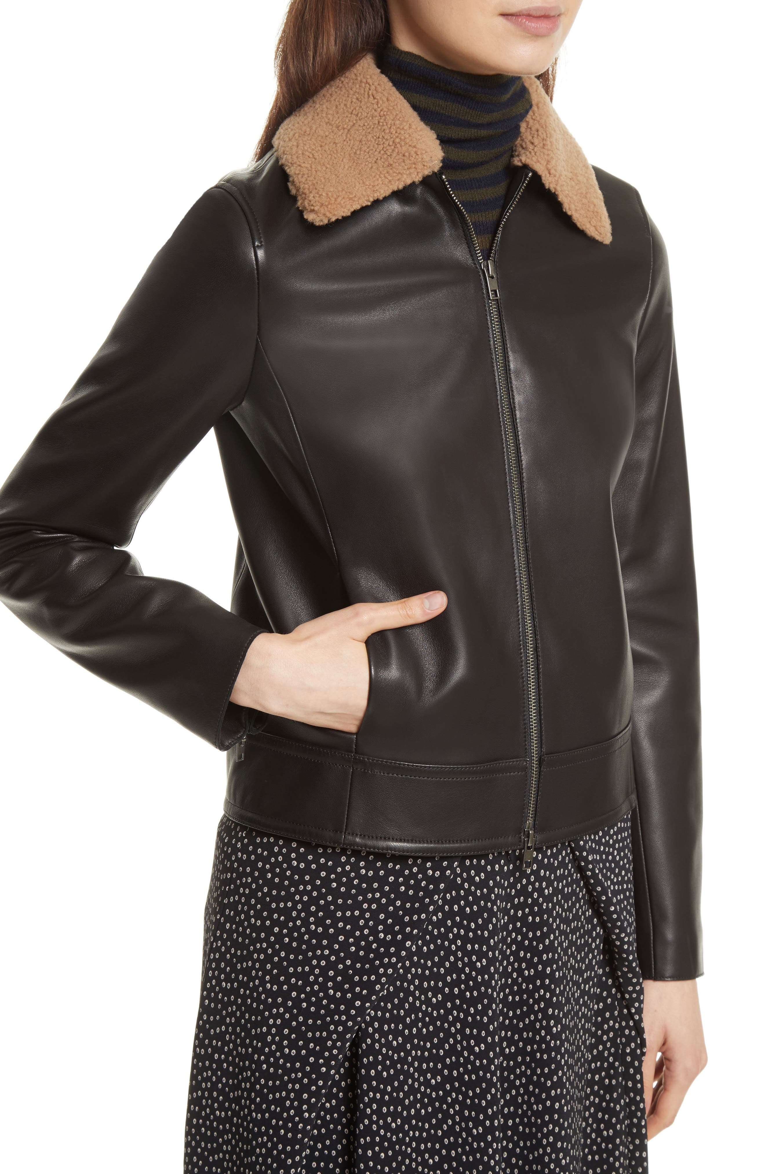 Leather Jacket with Genuine Shearling Trim,                             Alternate thumbnail 4, color,                             001
