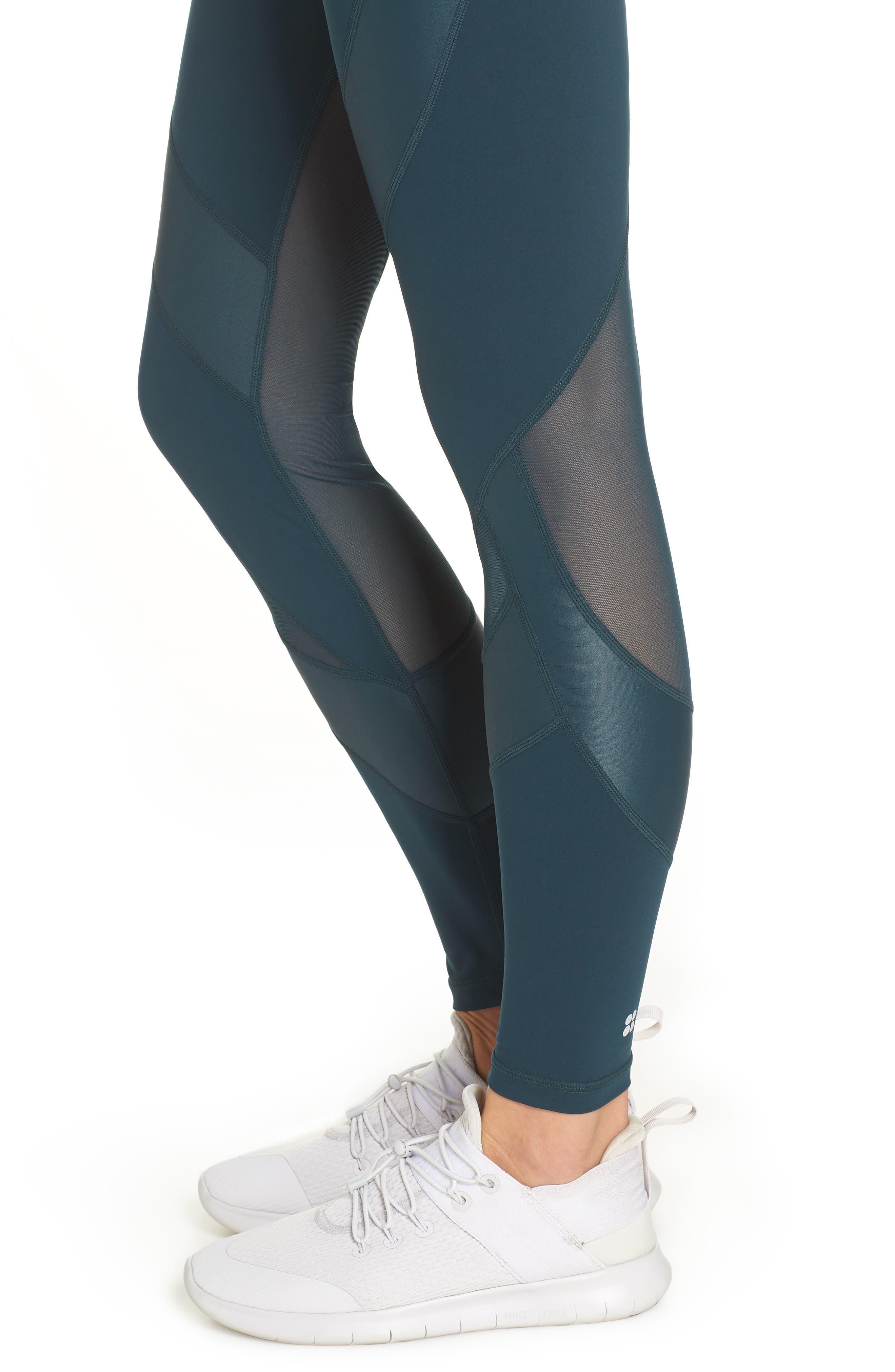 Power Wetlook Mesh Workout Leggings,                             Alternate thumbnail 4, color,                             MIDNIGHT TEAL