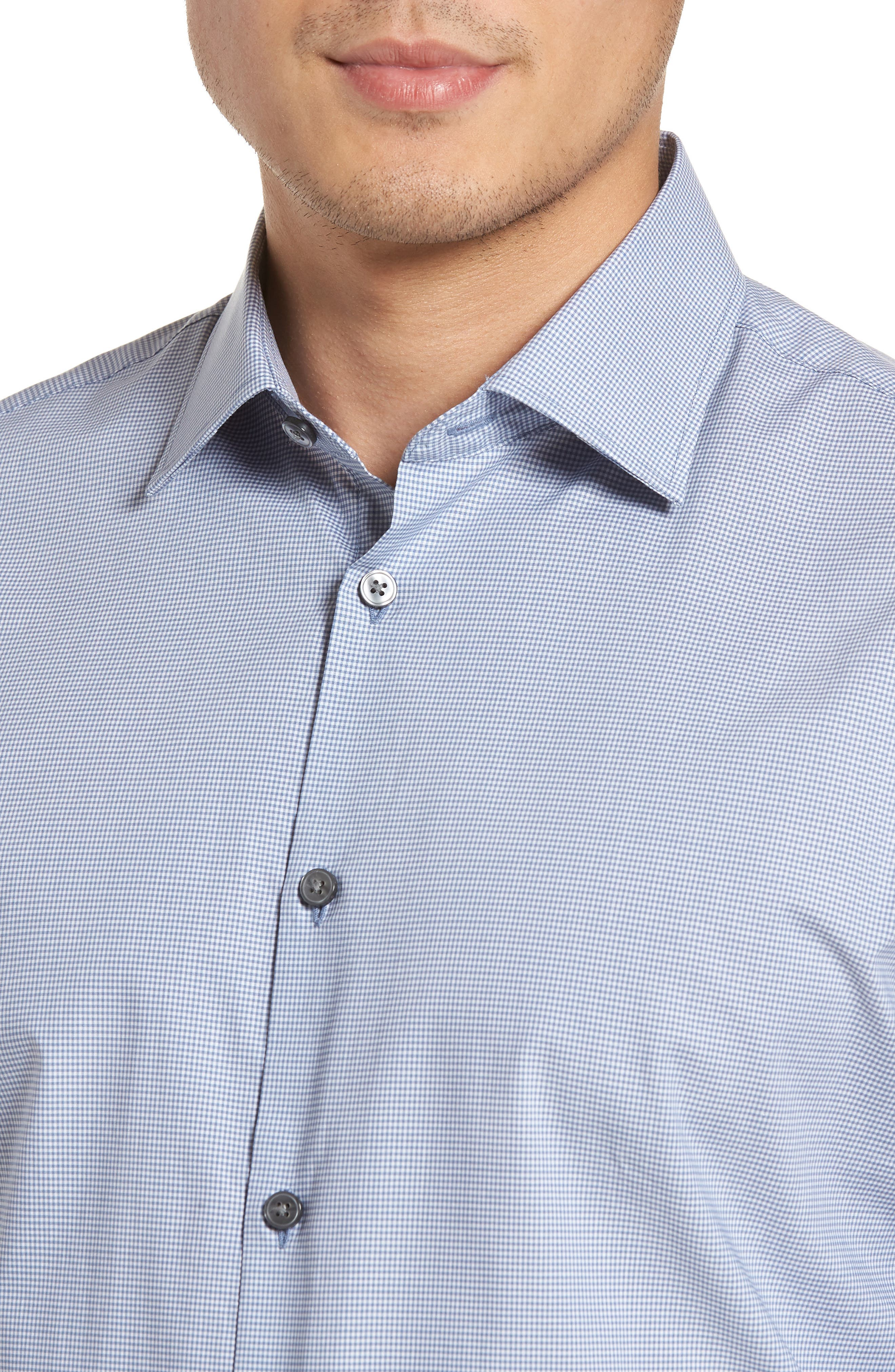 Regular Fit Stretch Microcheck Dress Shirt,                             Alternate thumbnail 2, color,                             DUSTED BLUE