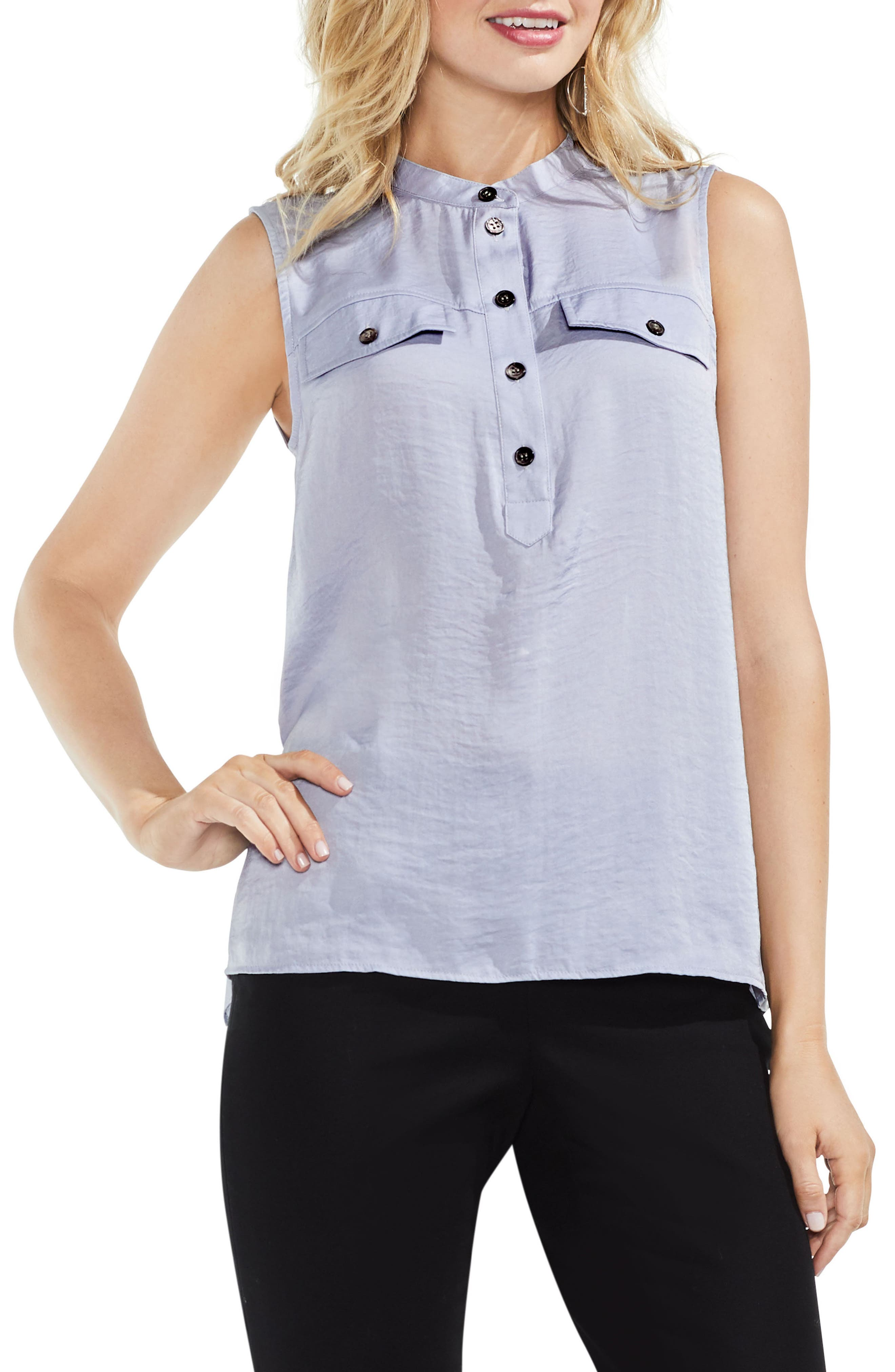 Sleeveless Henley Blouse,                             Main thumbnail 4, color,