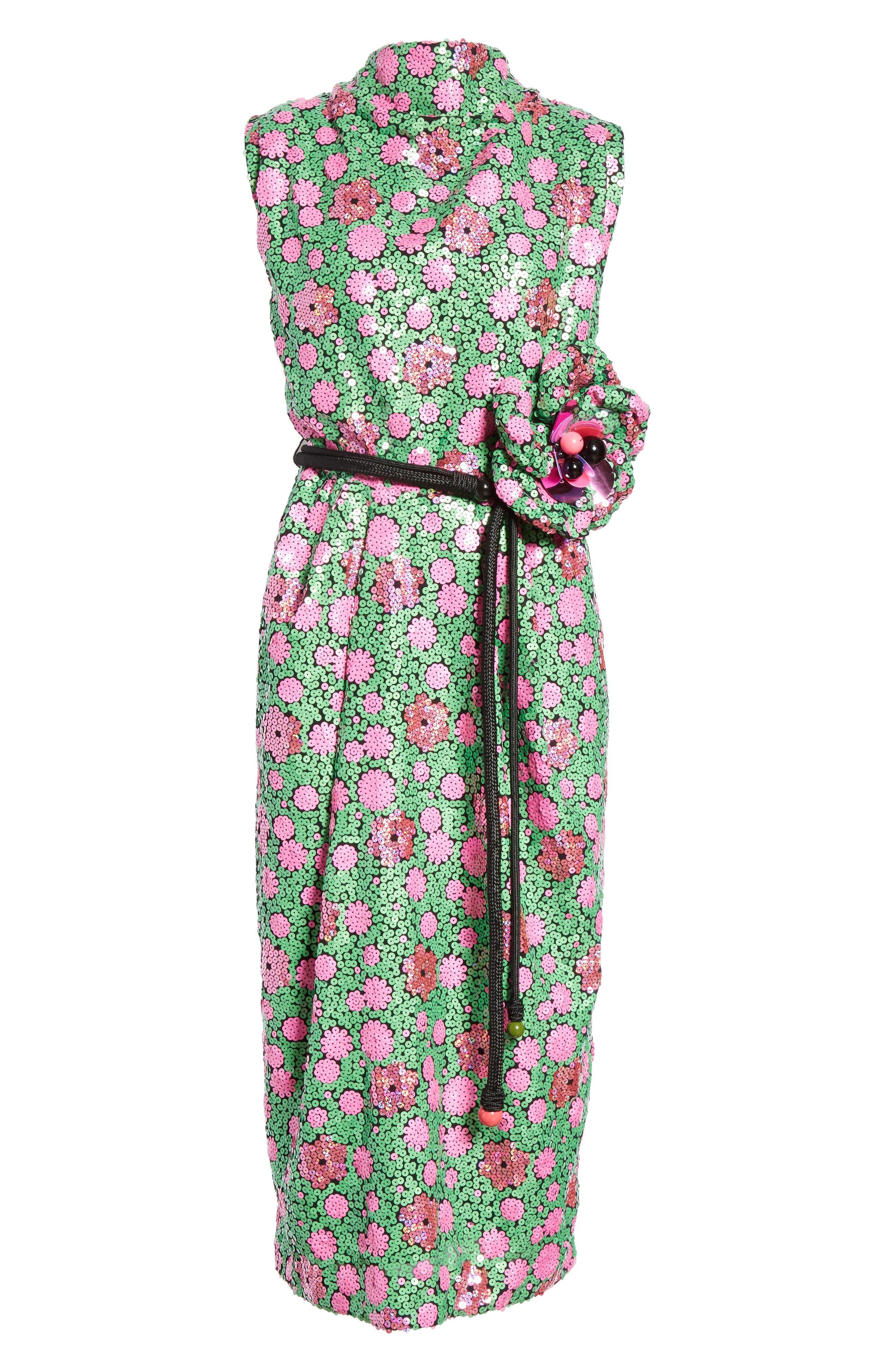 Floral Sequin Midi dress,                             Alternate thumbnail 6, color,                             300