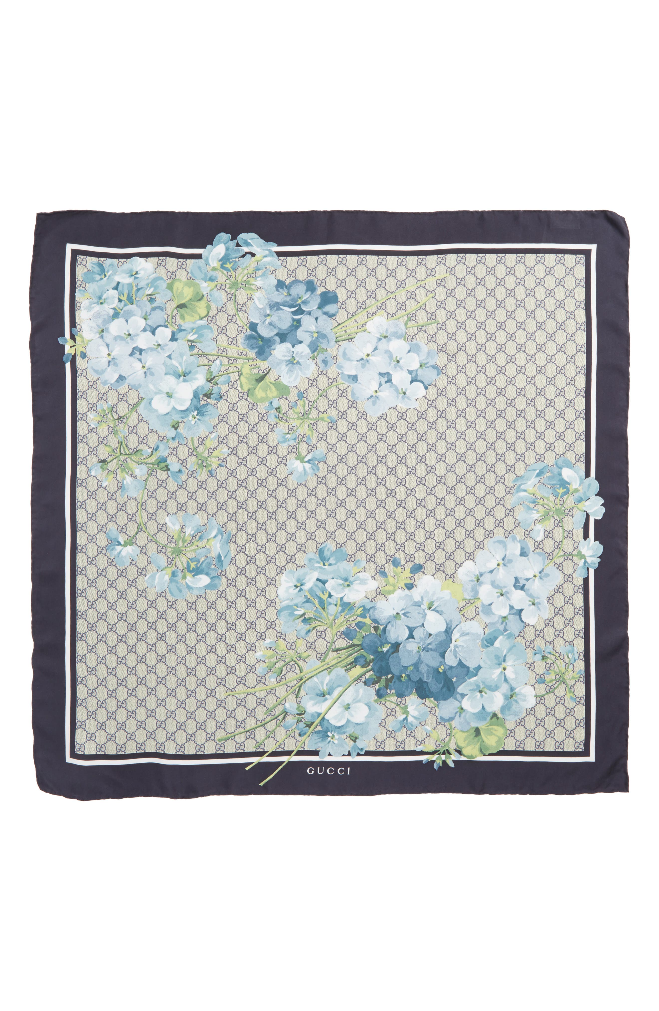 GG Blooms Foulard Scarf,                             Alternate thumbnail 2, color,                             MIDNIGHT BLUE/SKY BLUE