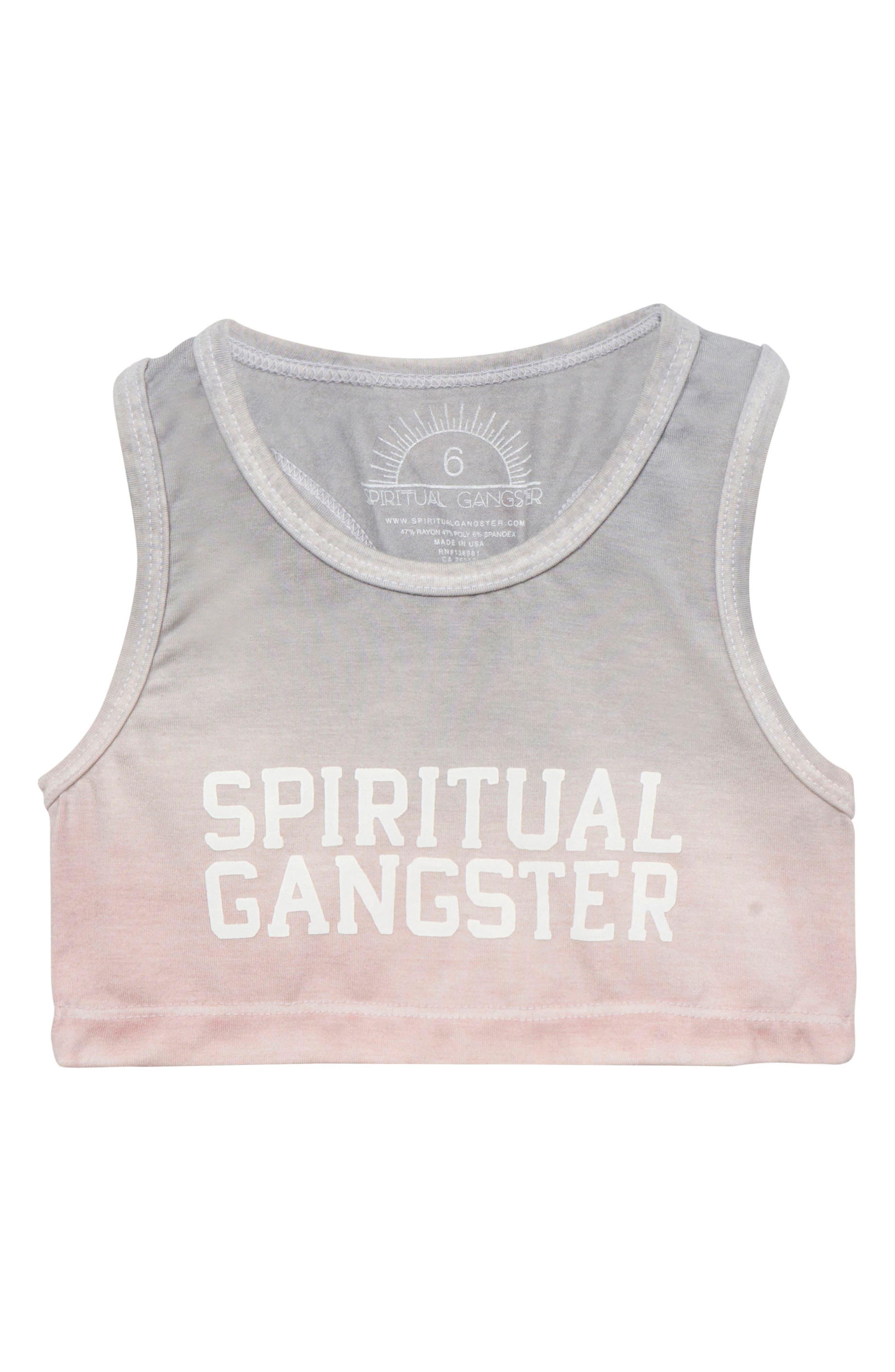 SPIRITUAL GANGSTER,                             Logo Sports Bra,                             Main thumbnail 1, color,                             020