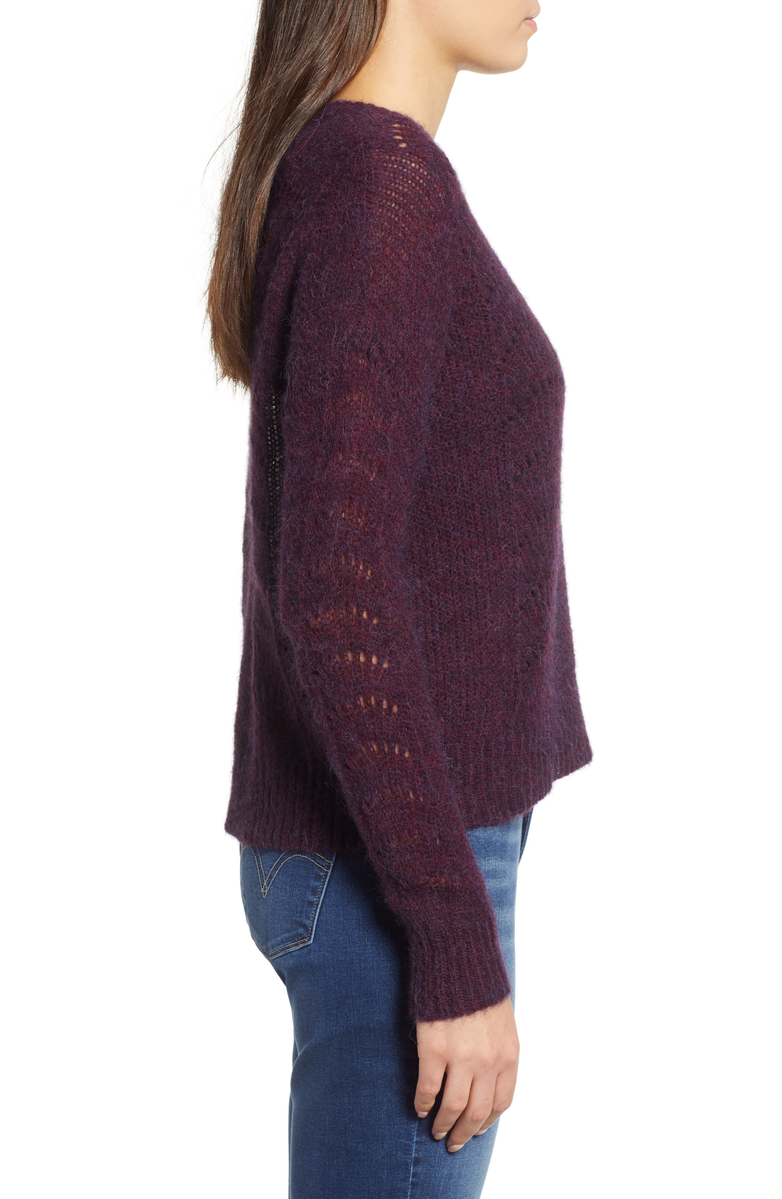 Mara Sweater,                             Alternate thumbnail 3, color,                             BLACKBERRY