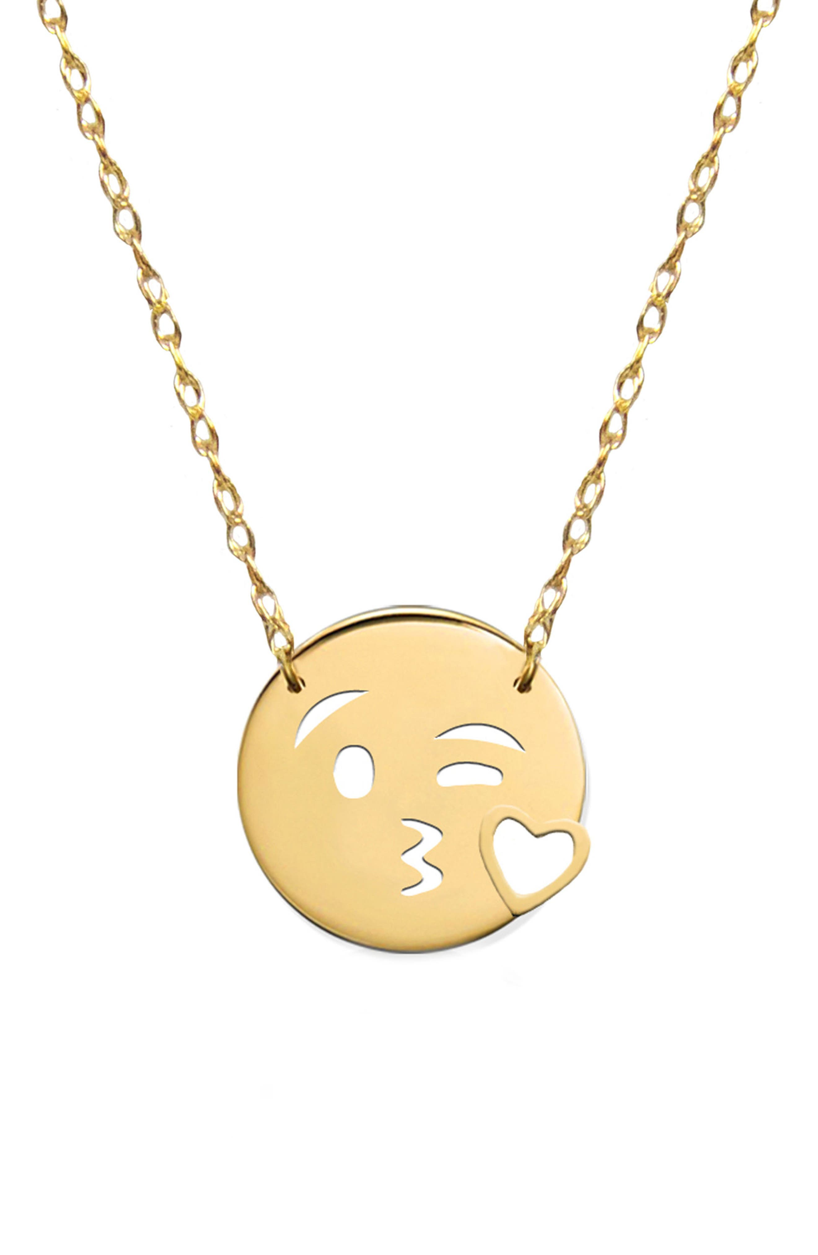 Kiss Love Emoji Pendant Necklace,                             Main thumbnail 1, color,                             710
