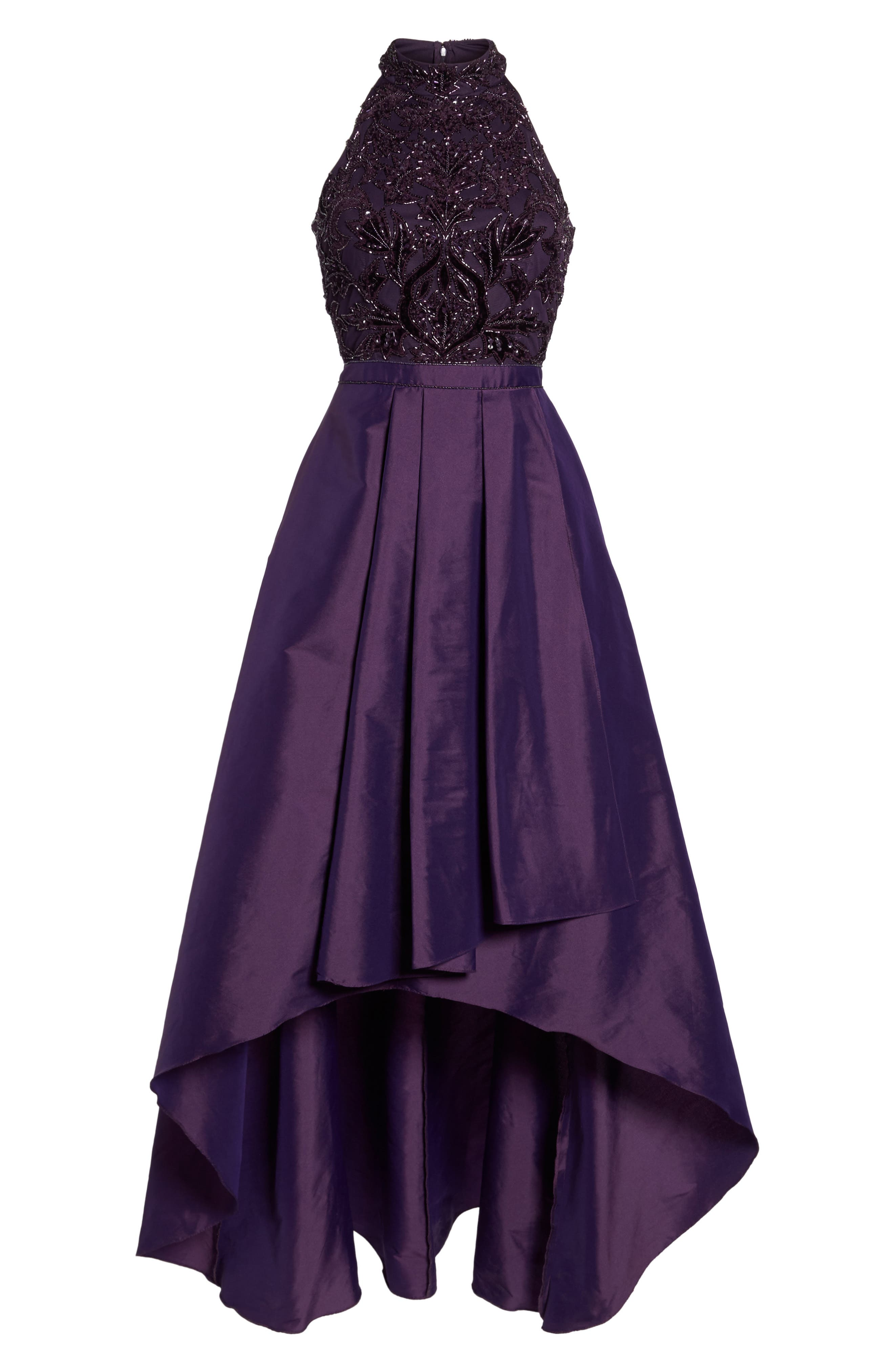 Embellished Taffeta High/Low Gown,                             Alternate thumbnail 6, color,                             501