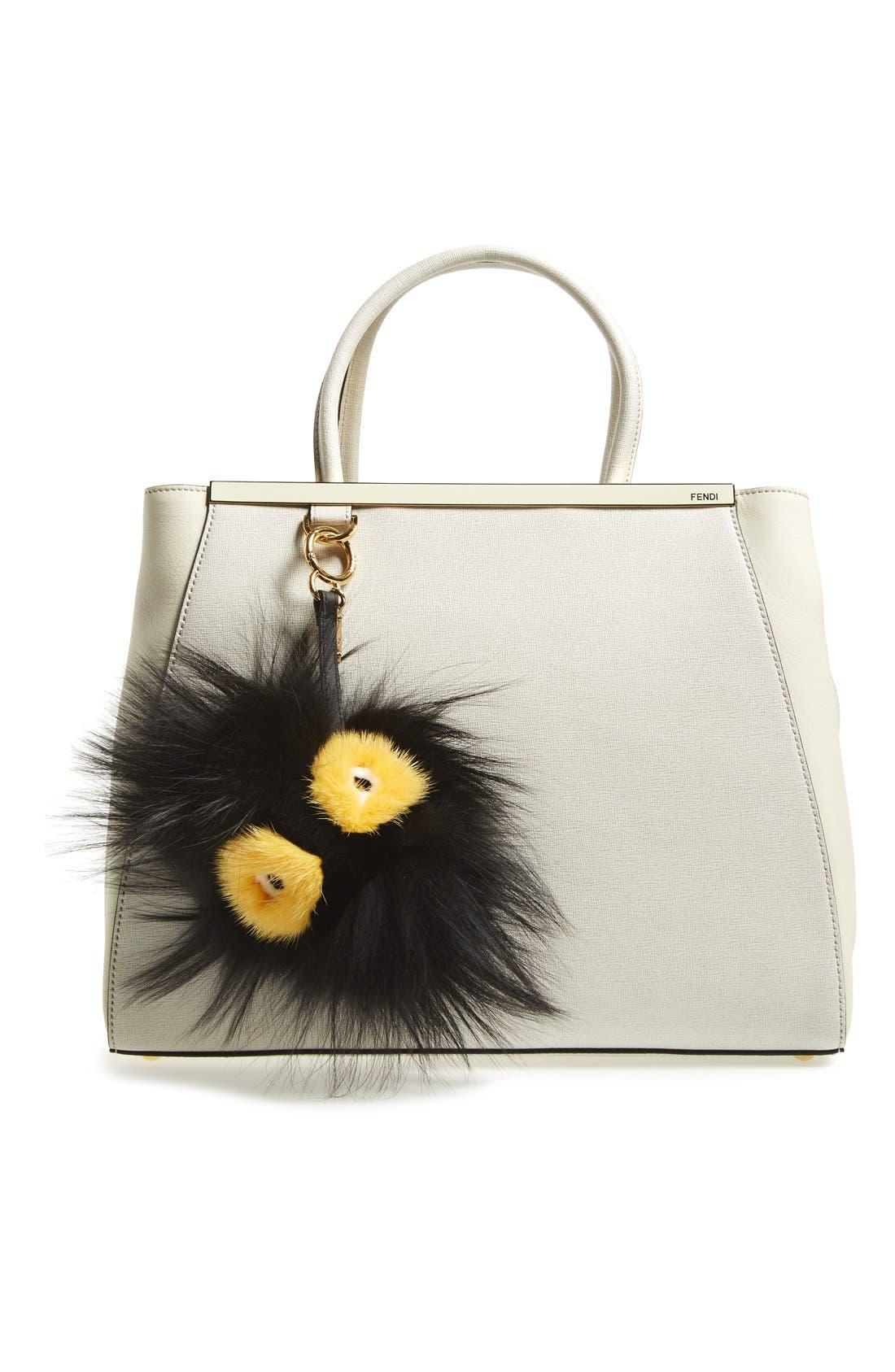 Genuine Mink Fur & Genuine Fox Fur Bag Charm,                             Alternate thumbnail 2, color,                             BLACK/ YELLOW