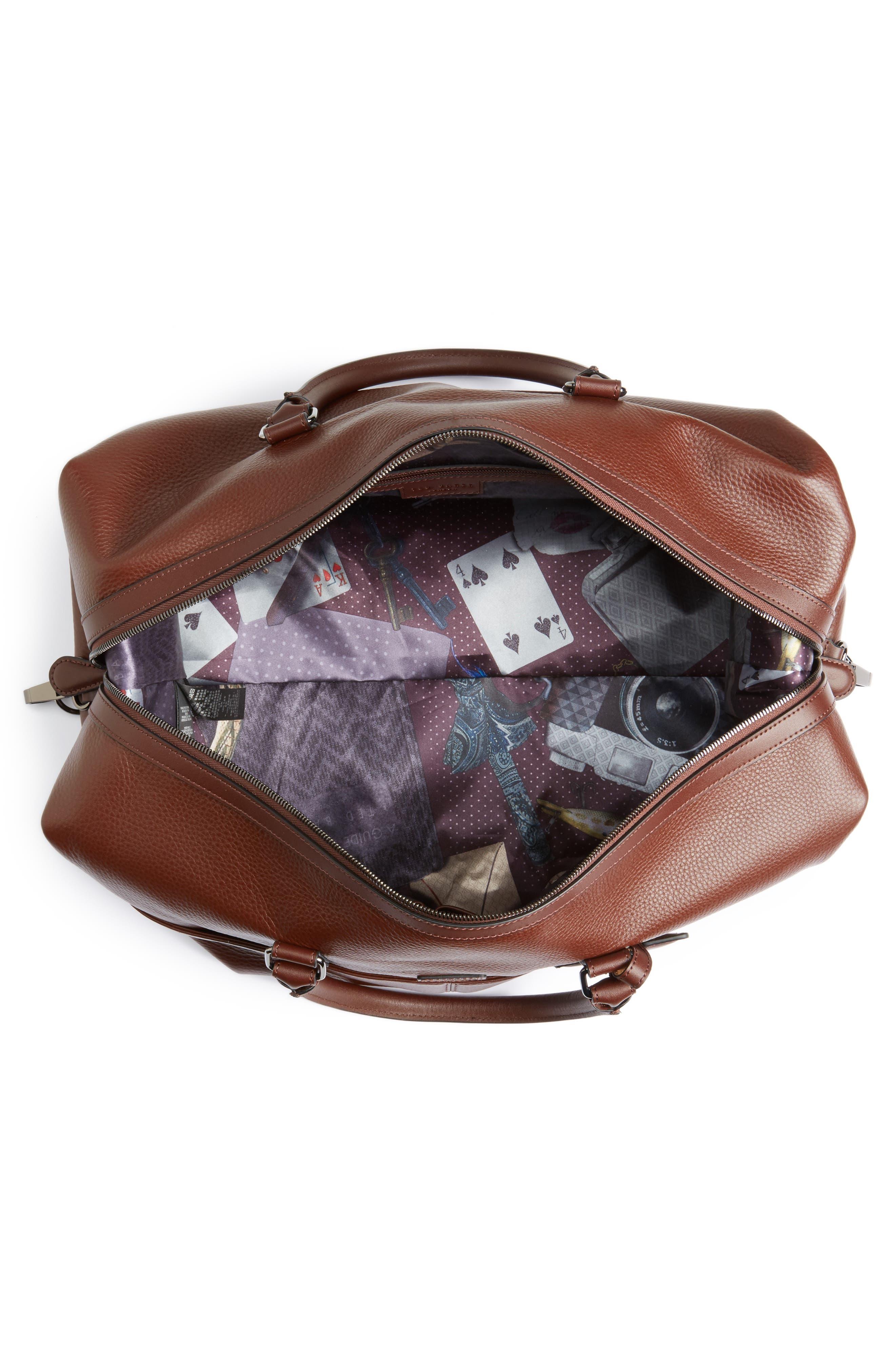 Leather Duffel Bag,                             Alternate thumbnail 4, color,                             217