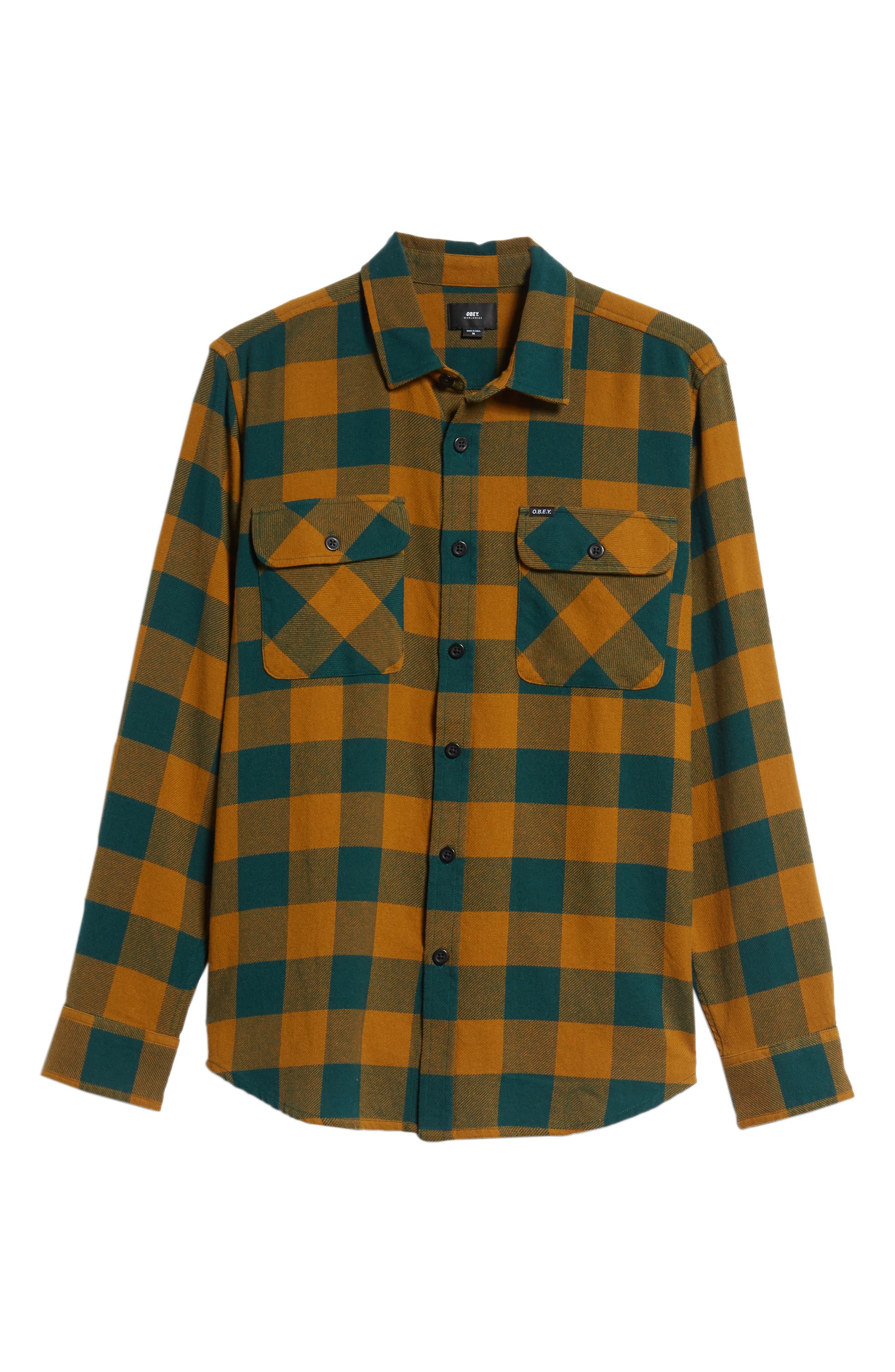 Vedder Buffalo Plaid Flannel Shirt,                             Alternate thumbnail 5, color,                             DARK TEAL MULTI