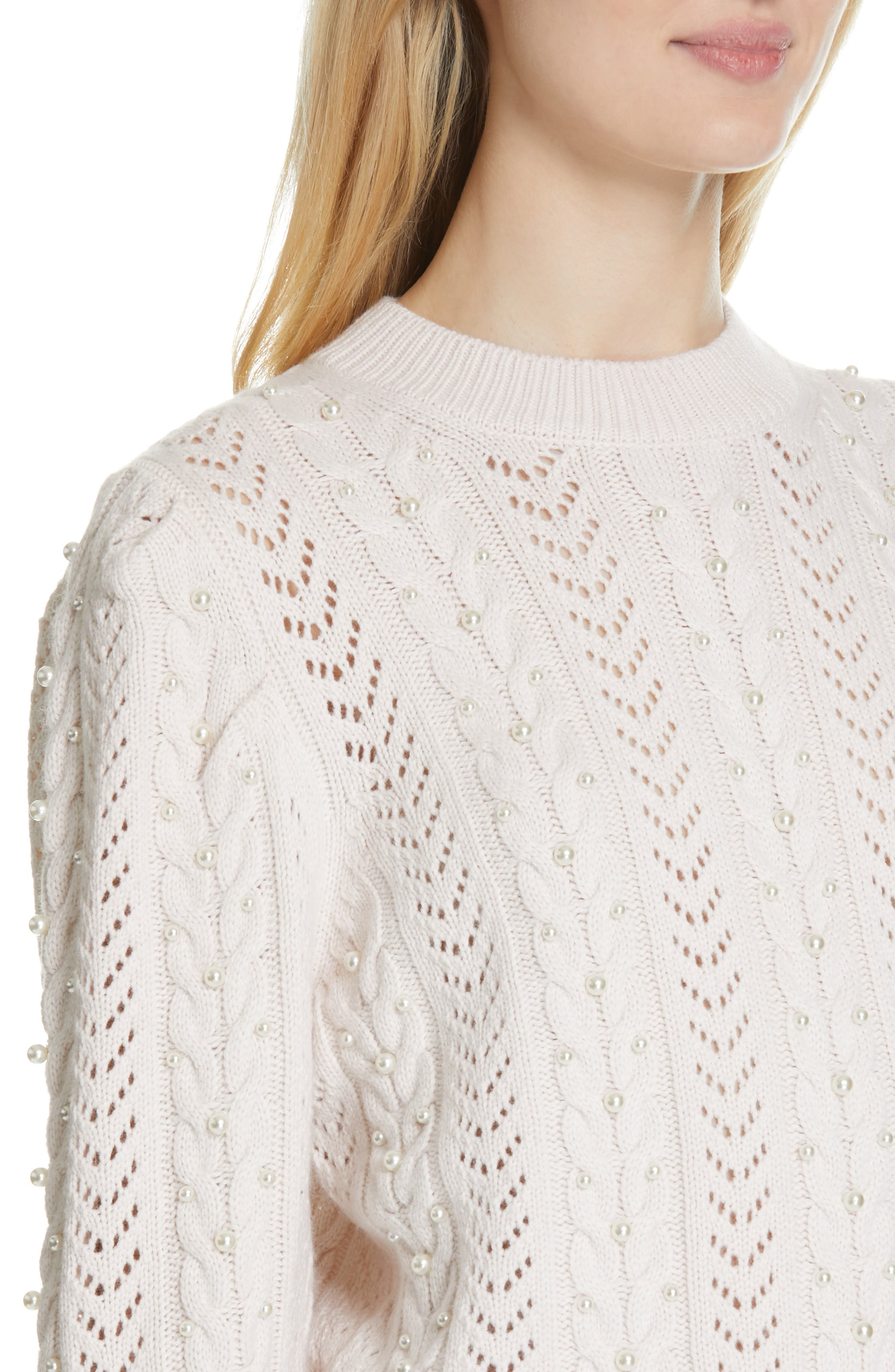 Tinala Faux Pearl Detail Cable Sweater,                             Alternate thumbnail 4, color,                             ANTIQUE WHITE