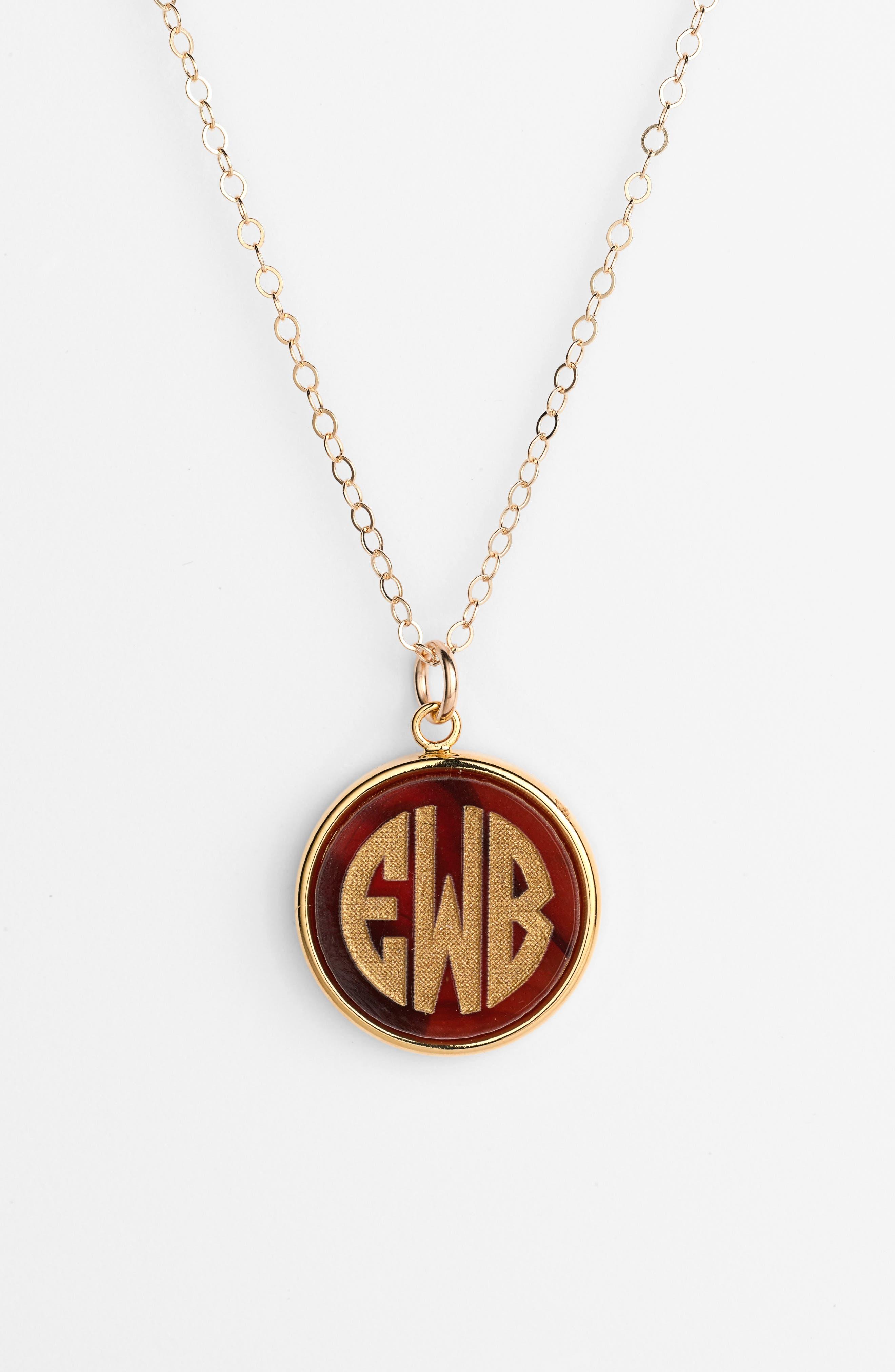 'Vineyard' Personalized Monogram Pendant Necklace,                             Alternate thumbnail 17, color,