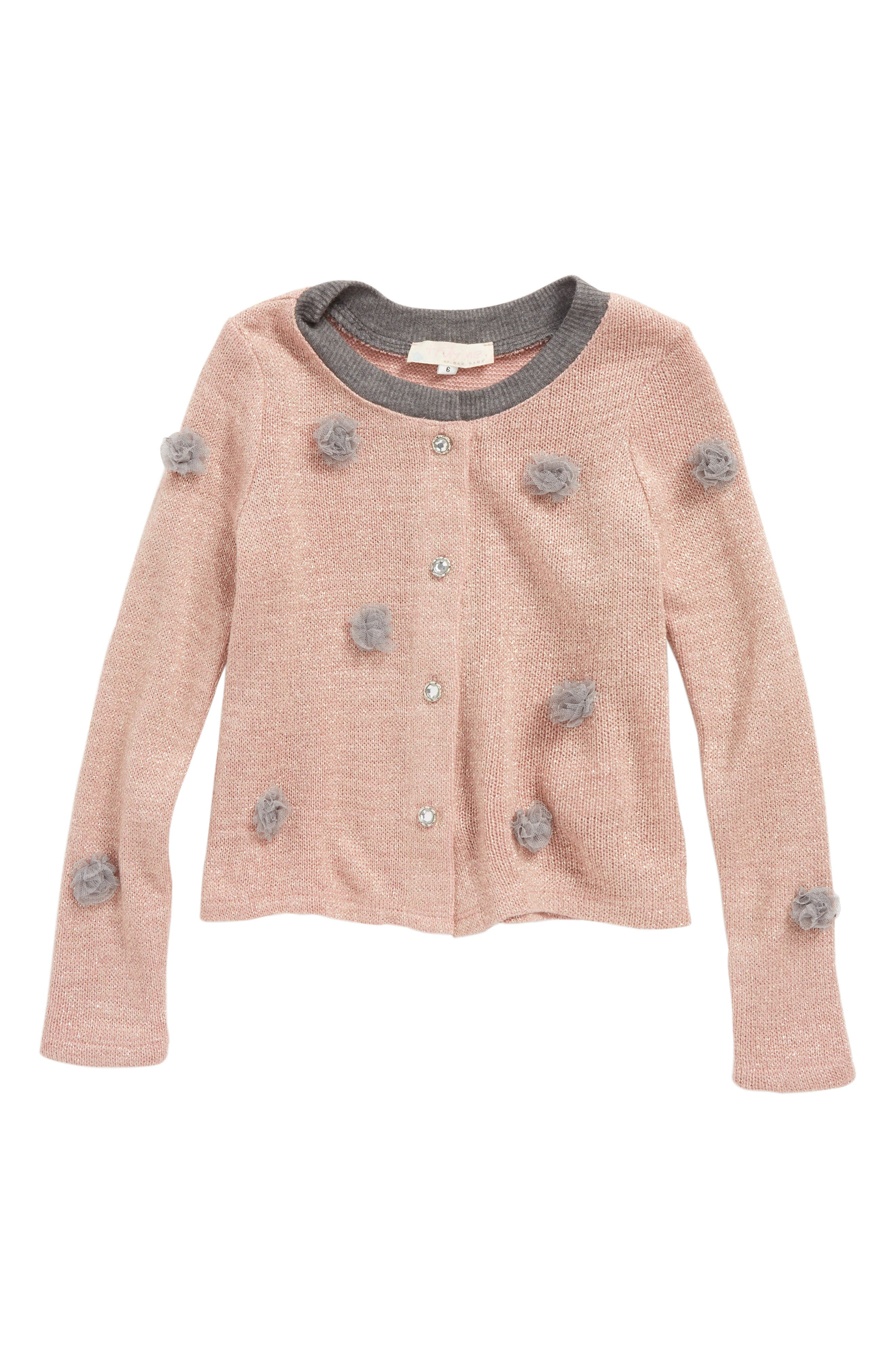 Tulle Pompom Cardigan,                             Main thumbnail 1, color,                             698