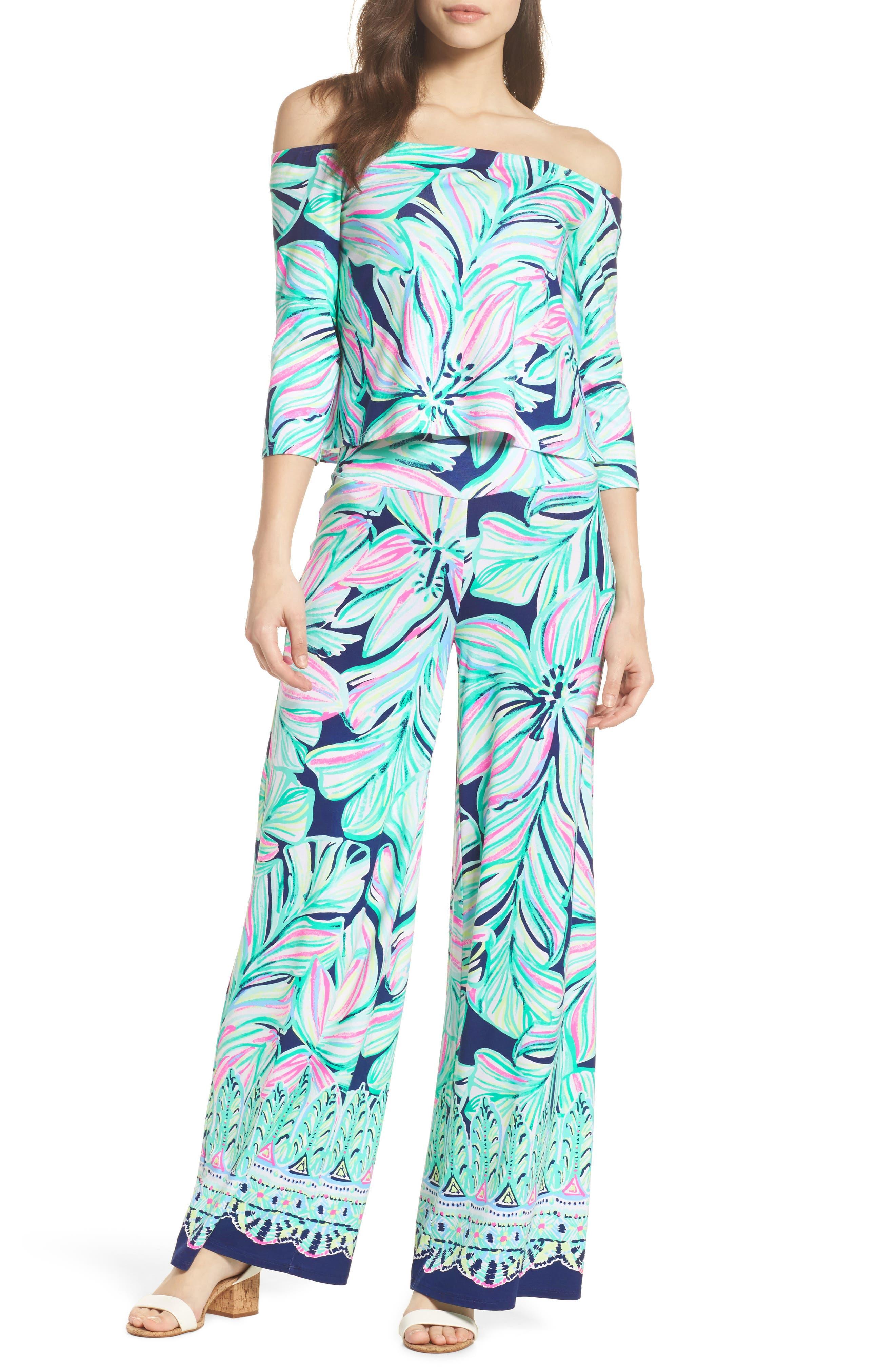 Weslee Floral Top & Pants,                             Alternate thumbnail 6, color,