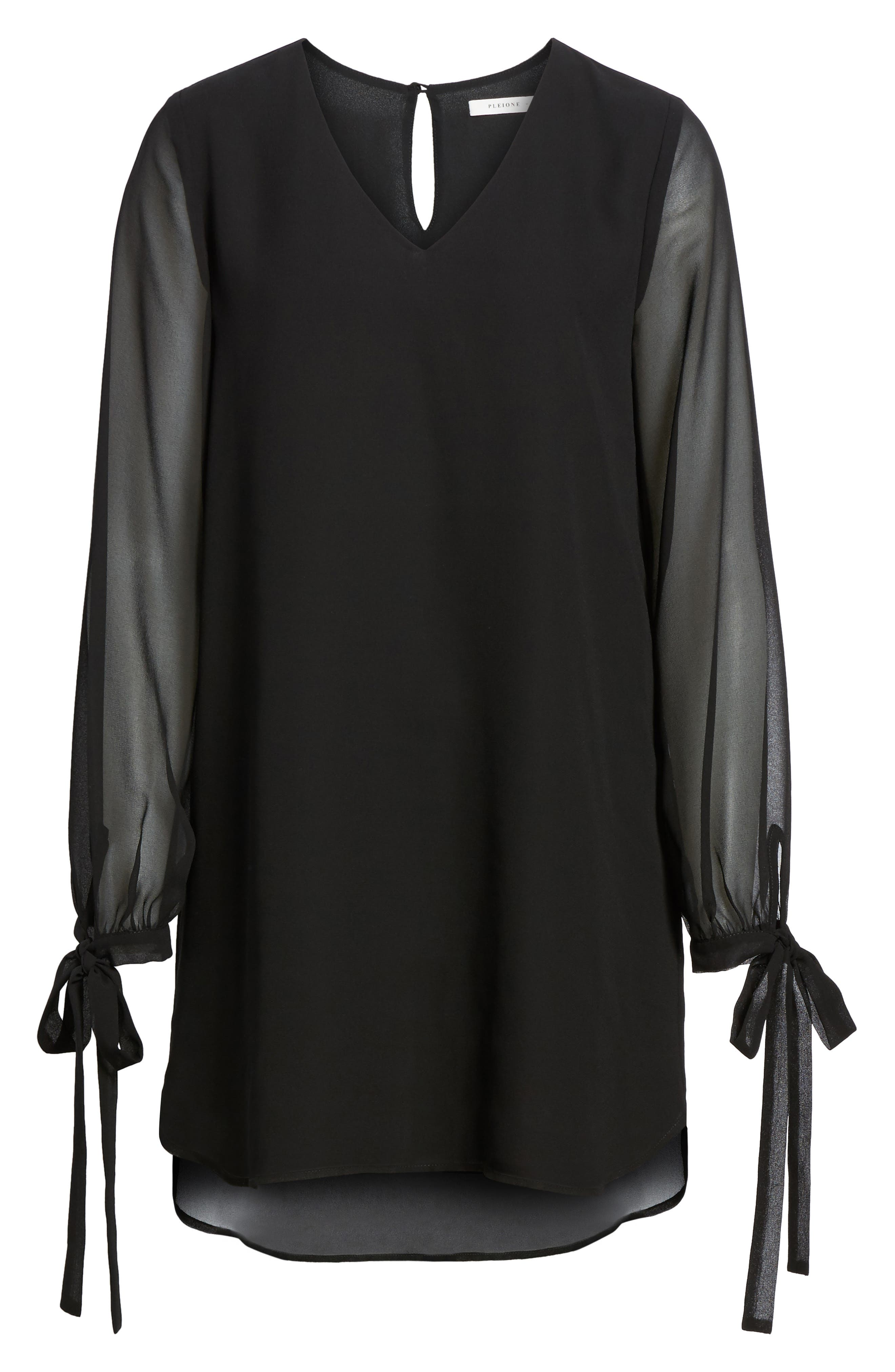 Tie-Sleeve Shift Dress,                             Alternate thumbnail 6, color,                             001