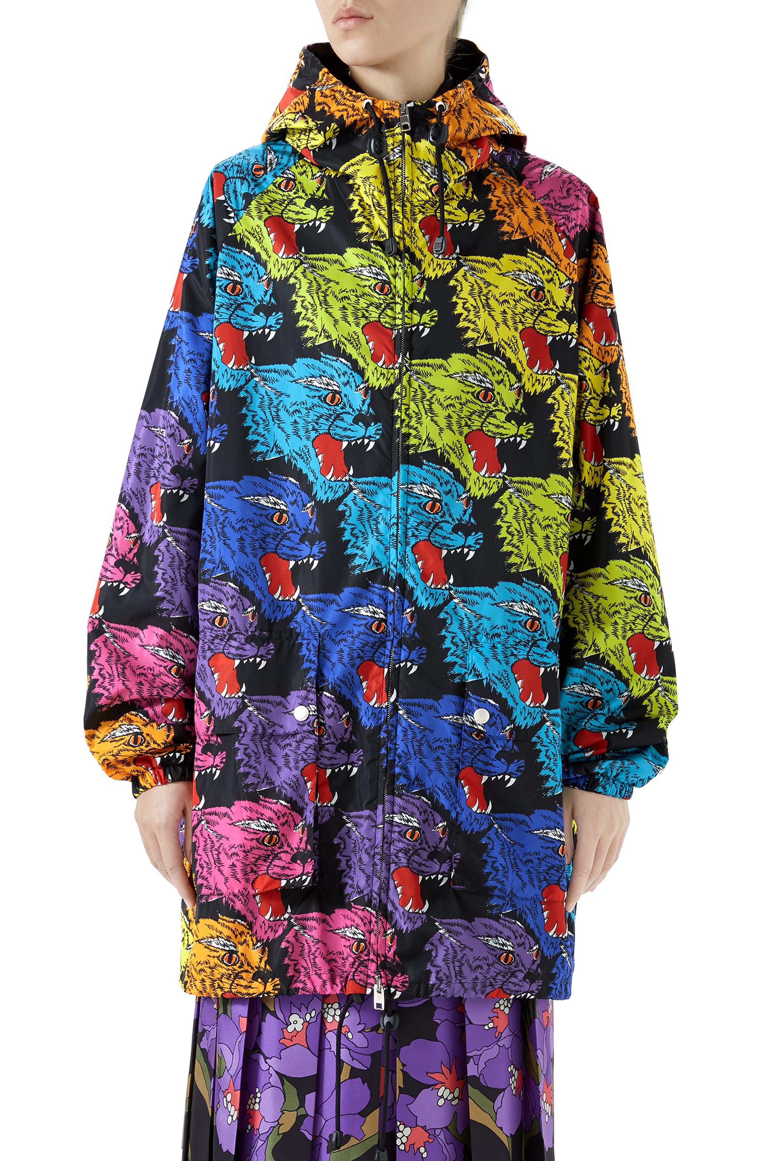 Rainbow Panther Hooded Jacket,                             Main thumbnail 1, color,                             RAINBOW PRINT