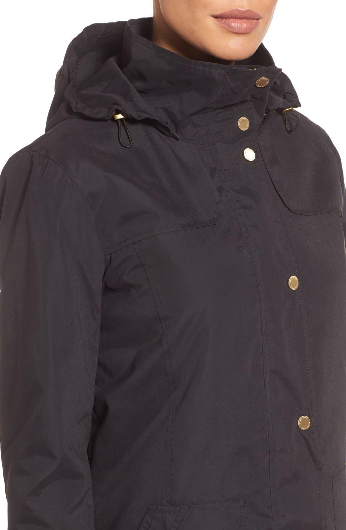 A-Line Raincoat with Detachable Hood,                             Alternate thumbnail 5, color,                             001