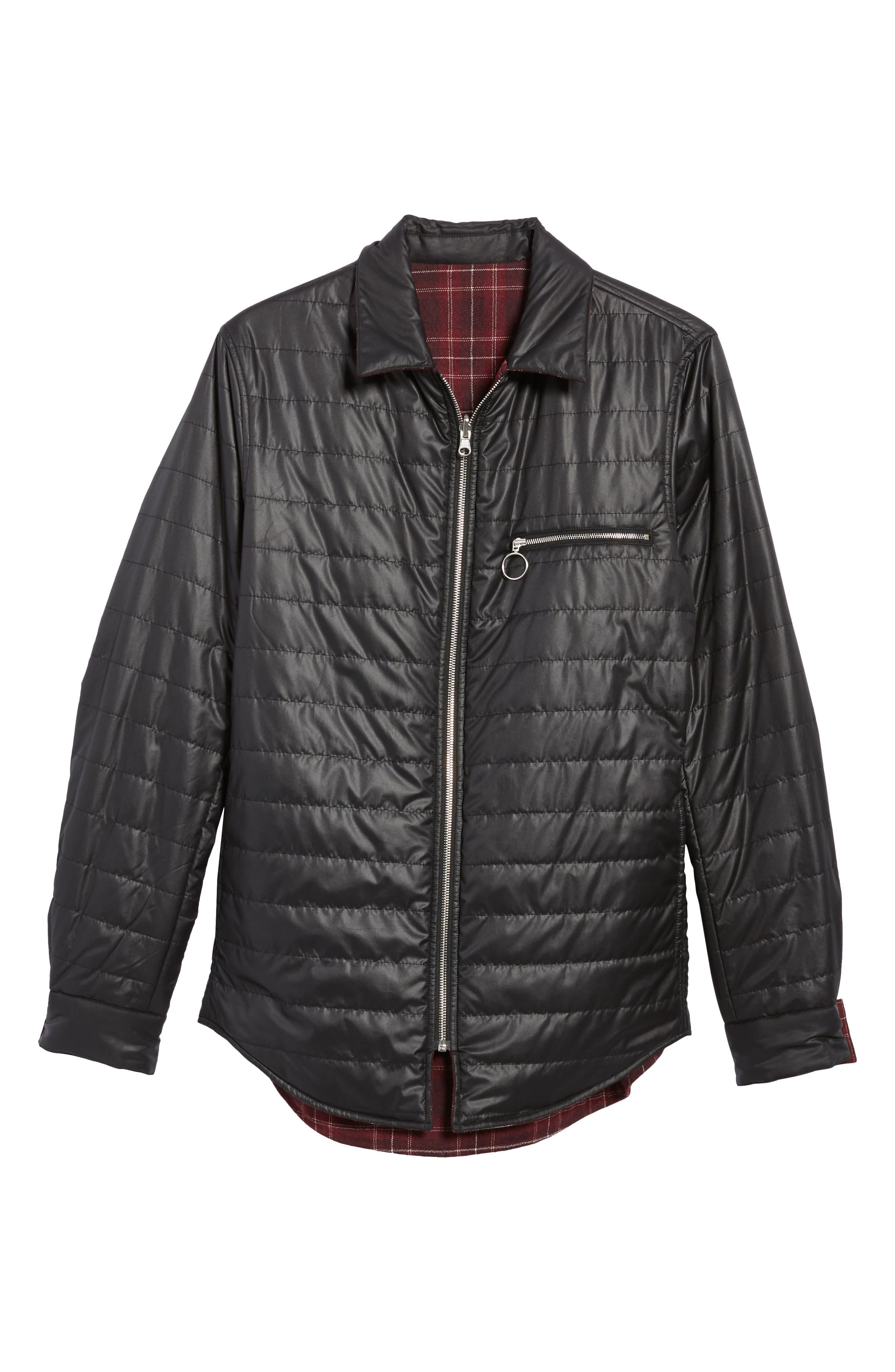 Reversible Zip Front Shirt Jacket,                             Alternate thumbnail 5, color,