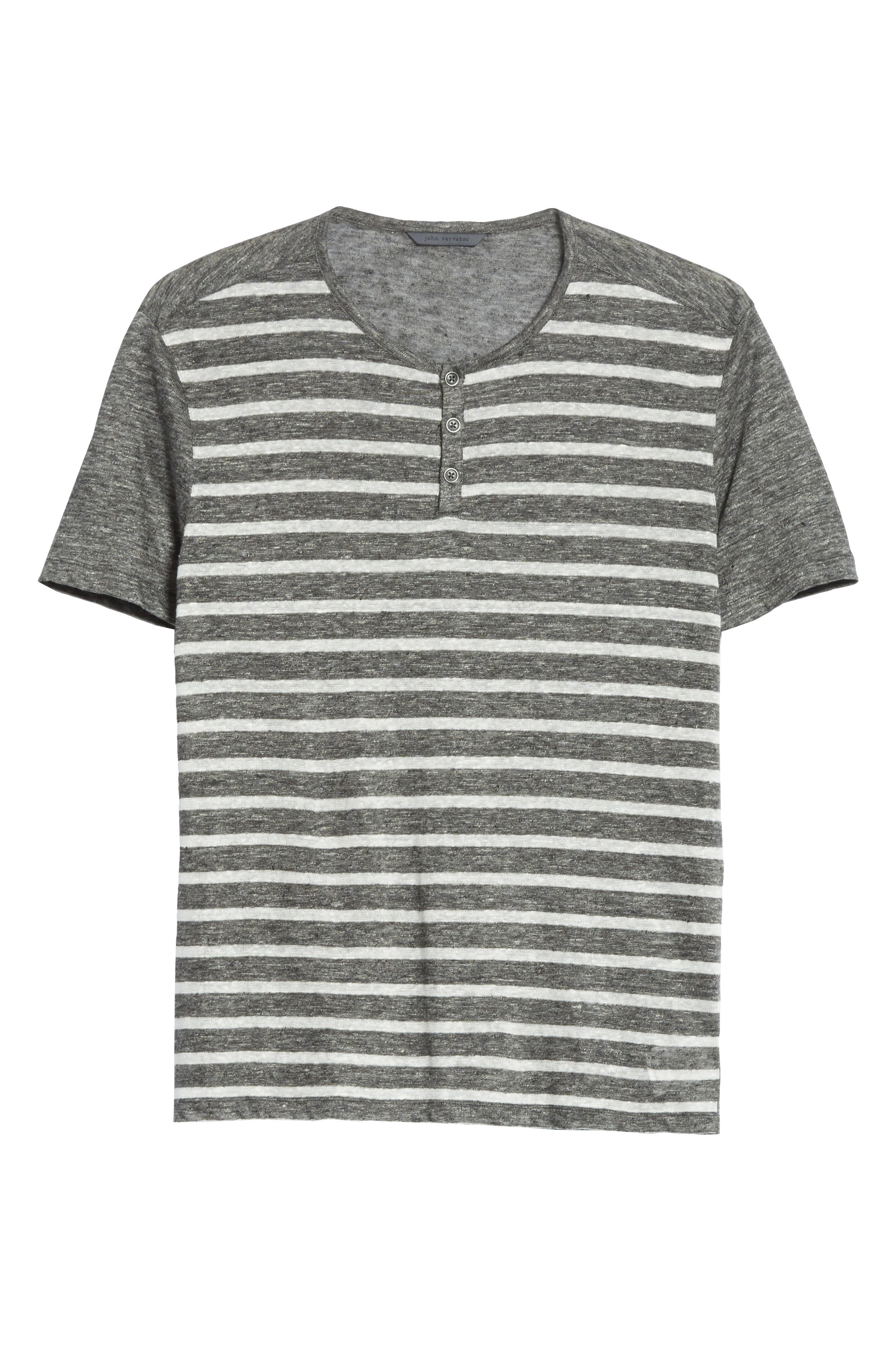 Stripe Linen Henley T-Shirt,                             Alternate thumbnail 6, color,                             014
