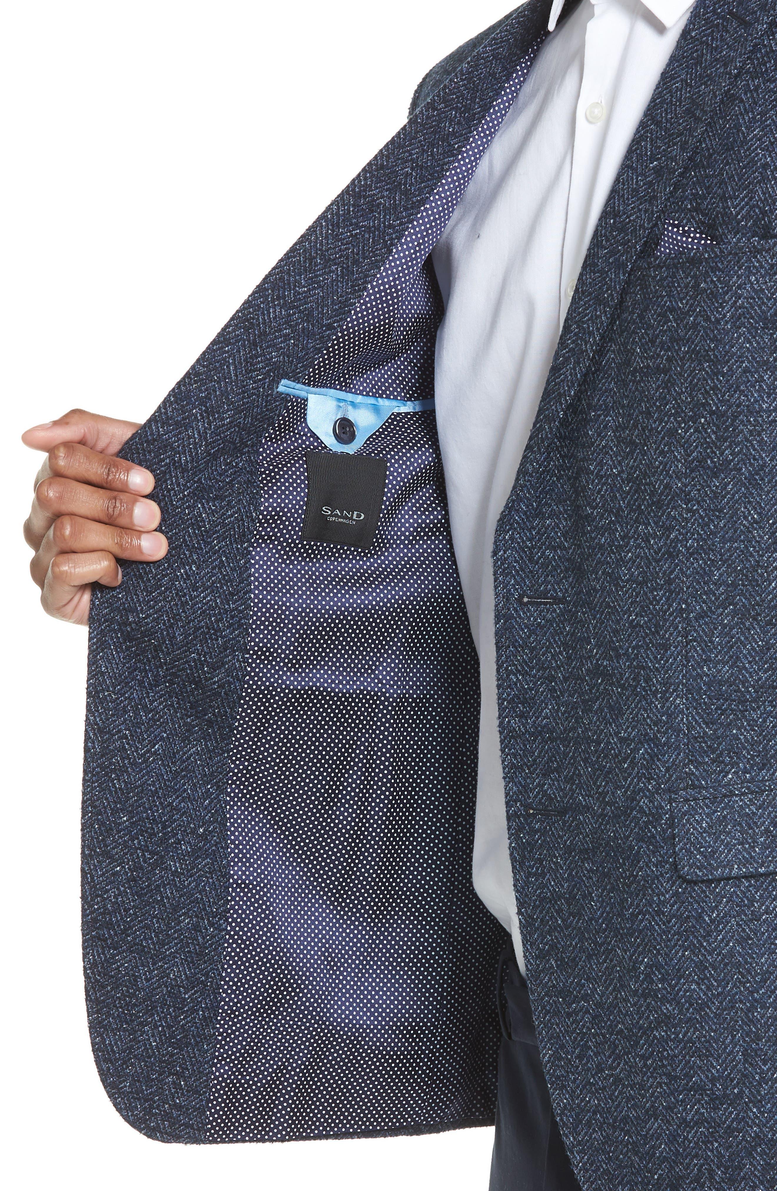 Trim Fit Herringbone Wool Blend Sport Coat,                             Alternate thumbnail 4, color,