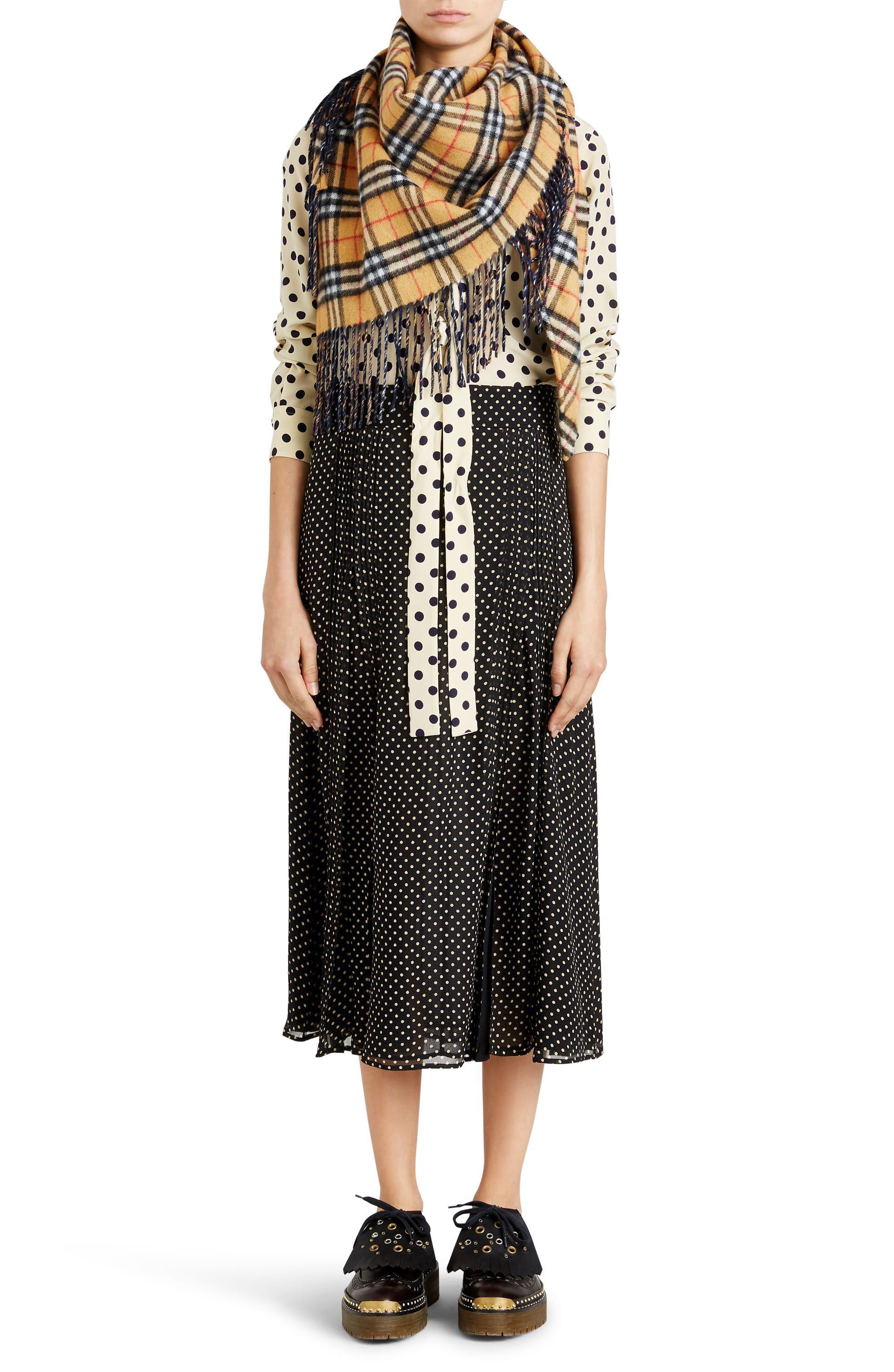 Fine Pintuck Dot Print Silk Skirt,                             Alternate thumbnail 7, color,