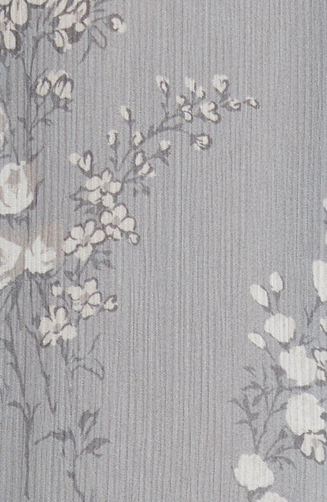 Floral Print Crinkle Chiffon Tie Neck Dress,                             Alternate thumbnail 6, color,                             GREY