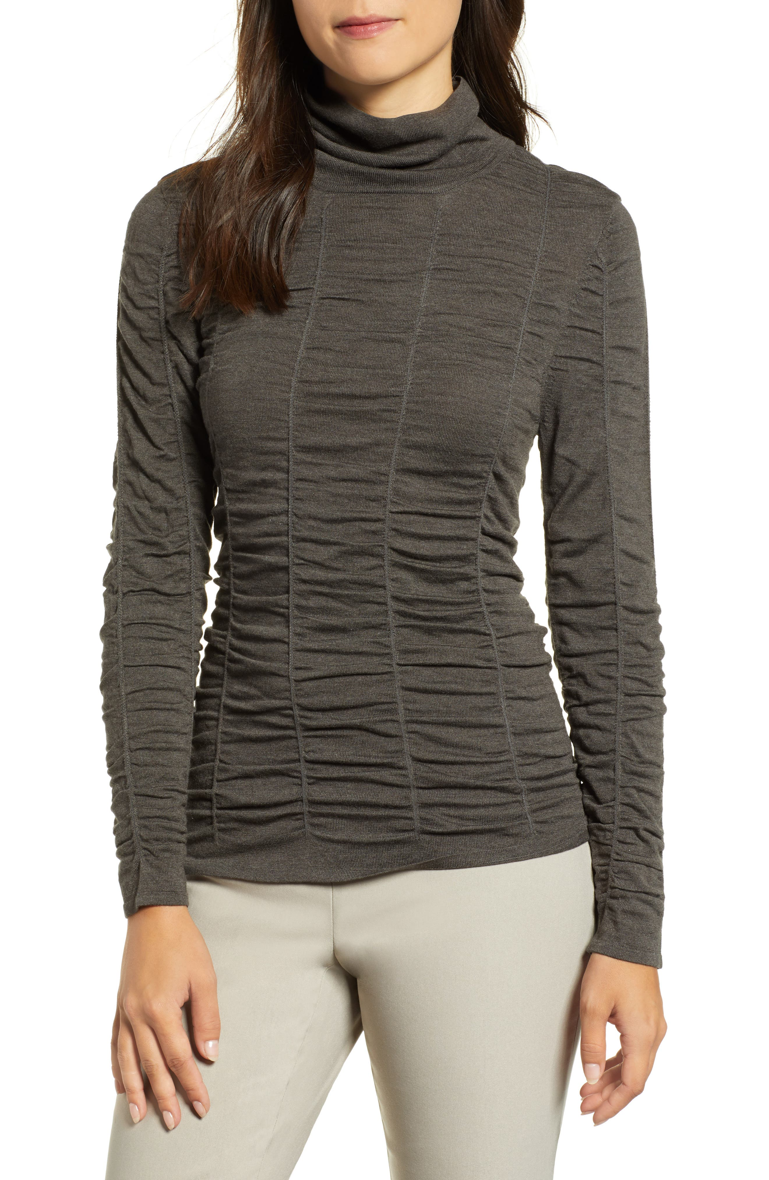 NIC + ZOE Turtleneck Long-Sleeve Scrunched-Up Top in Graphite