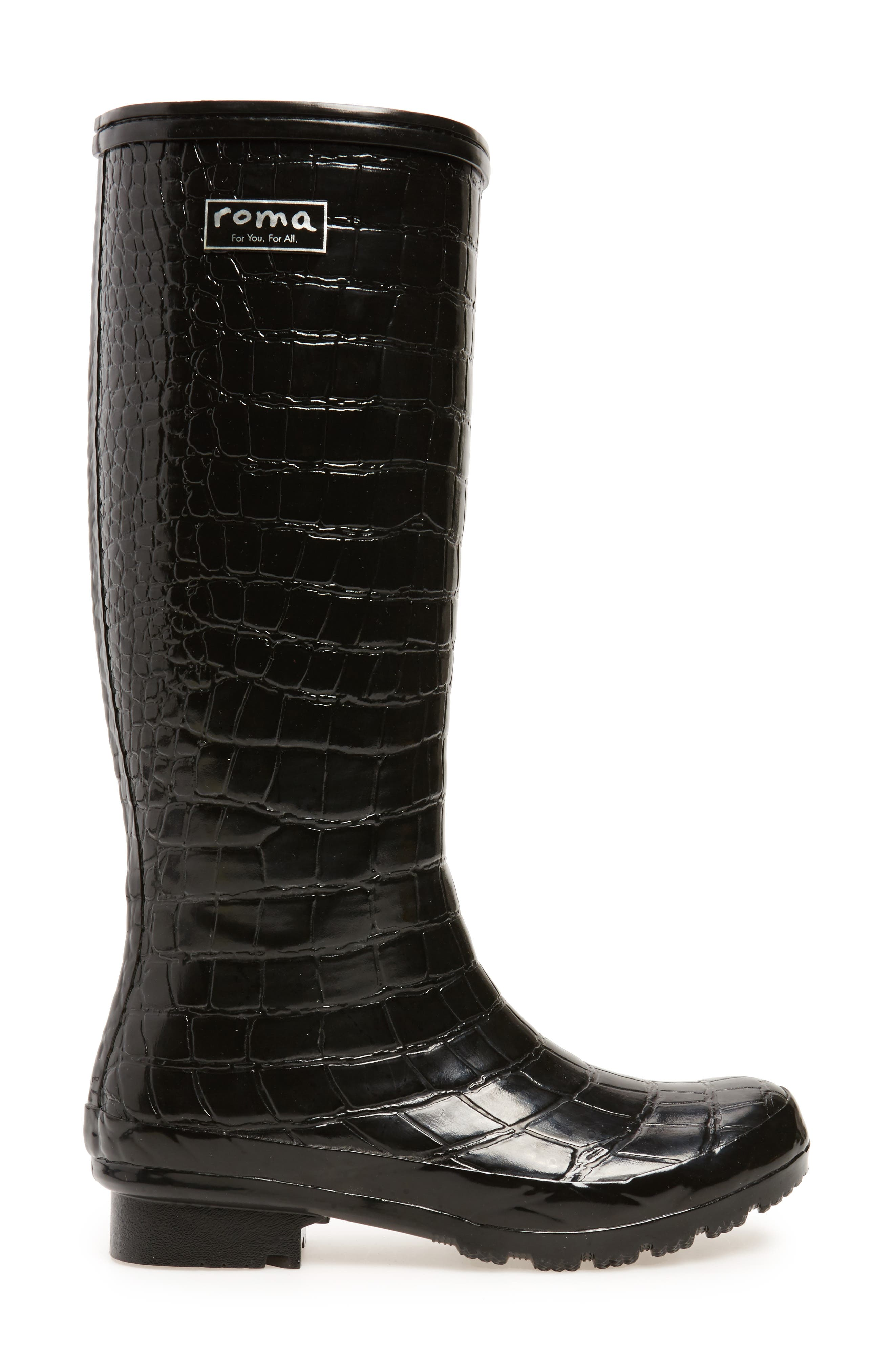 Classic Glossy Rain Boot,                             Alternate thumbnail 3, color,                             001