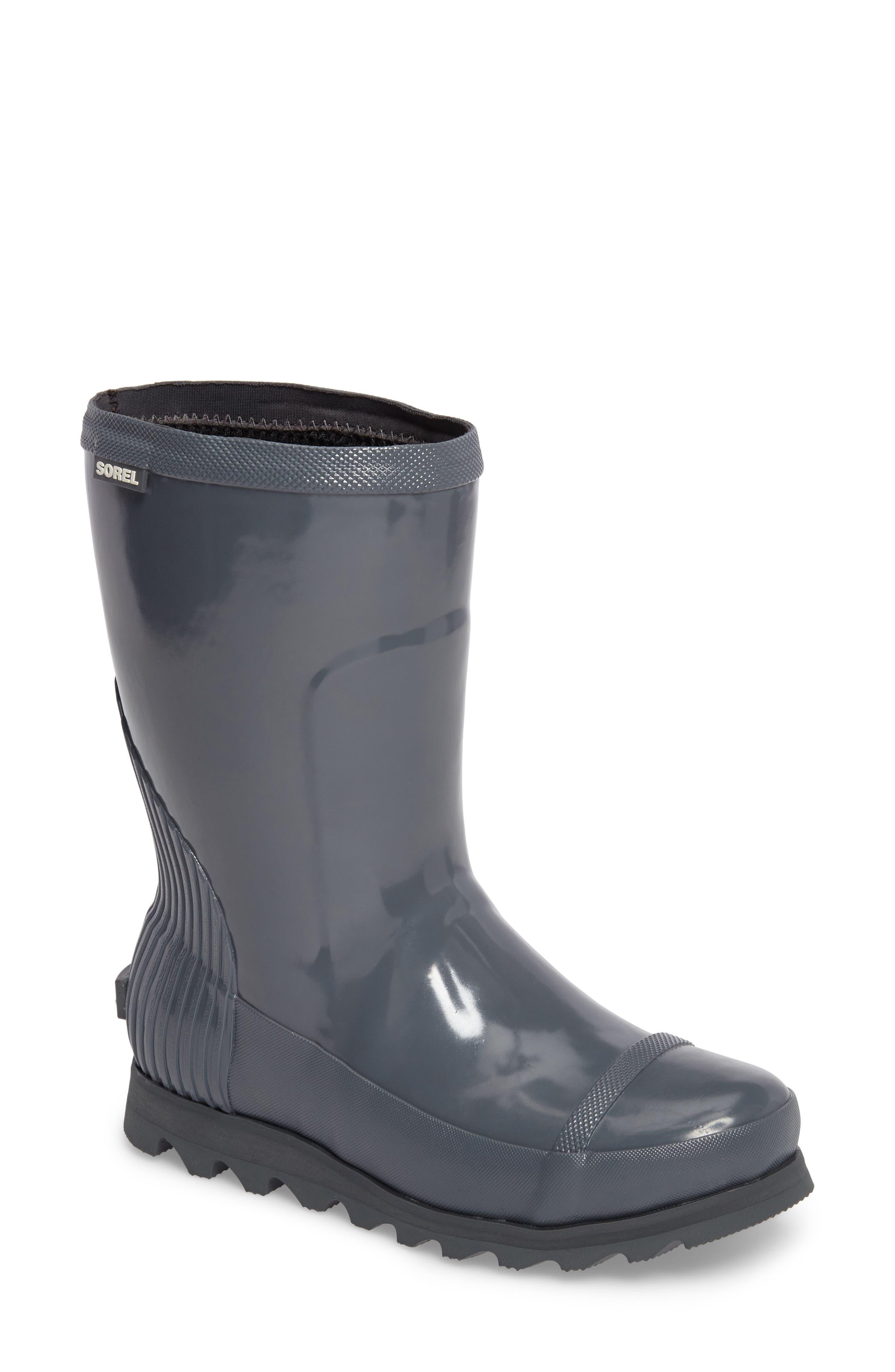 Joan Glossy Short Rain Boot,                         Main,                         color, GRAPHITE/ SEA SALT